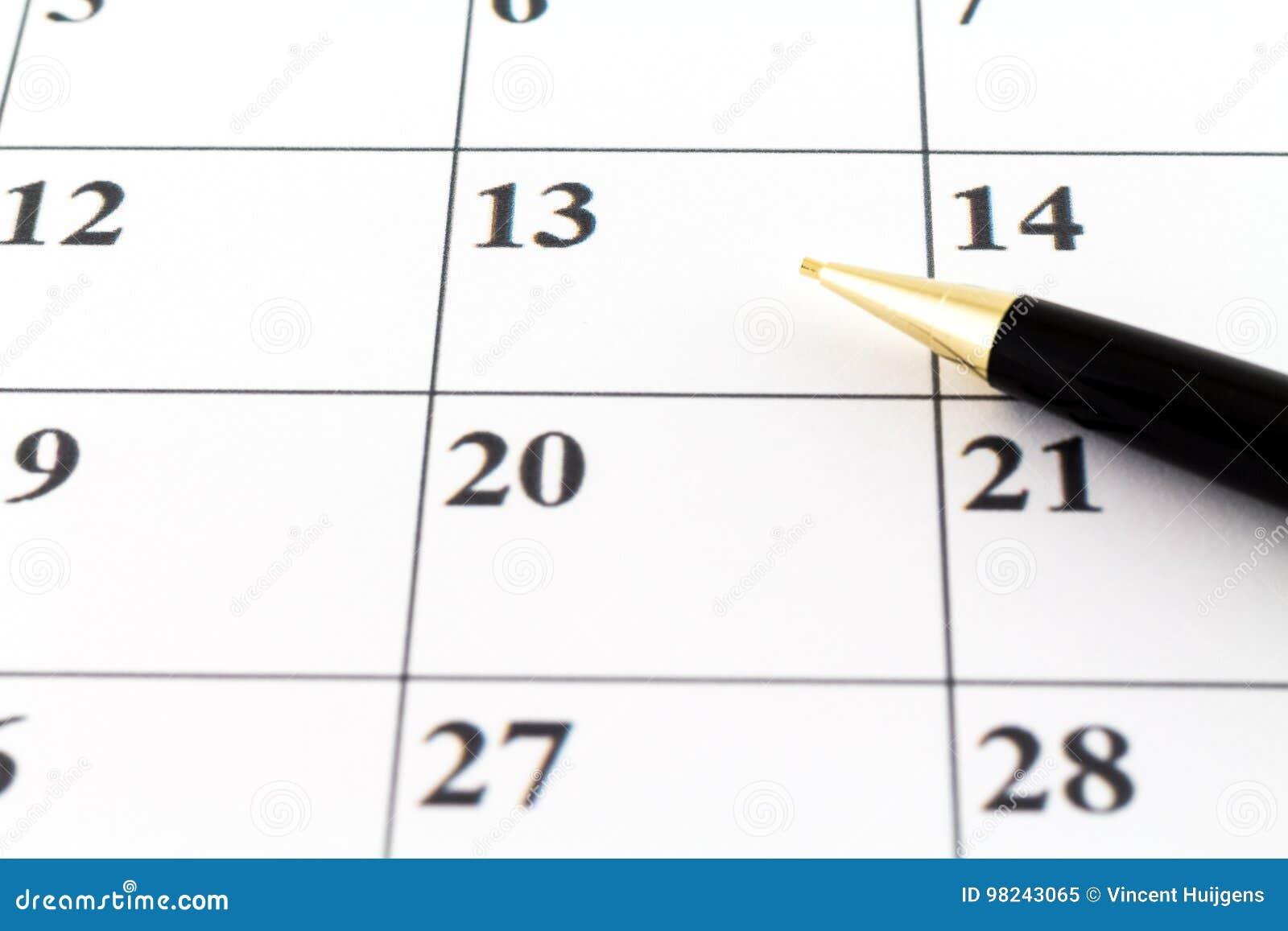Μήνας εβδομάδας ημέρας αρμόδιων για το σχεδιασμό ημερολογιακής ημερομηνίας με τη μαύρη μάνδρα