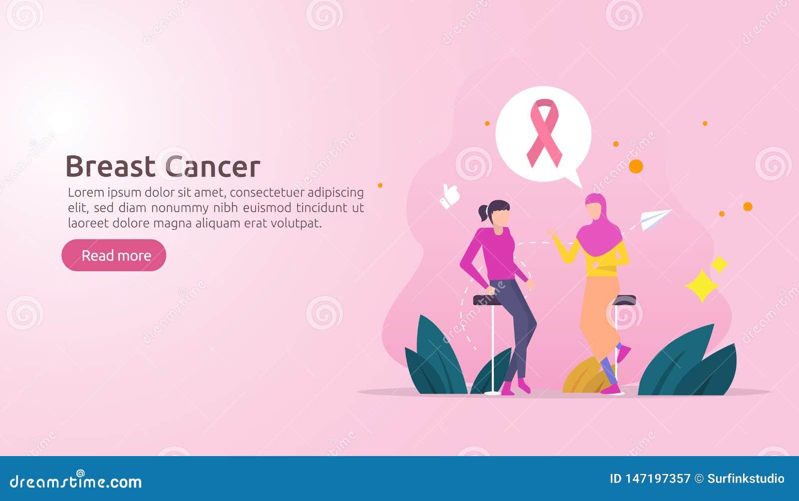 μήνας συνειδητοποίησης ημέρας καρκίνου του μαστού με τη ρόδινη κορδέλλα θηλυκή συζήτηση συζήτησης χαρακτήρα κινουμένων σχεδίων μα