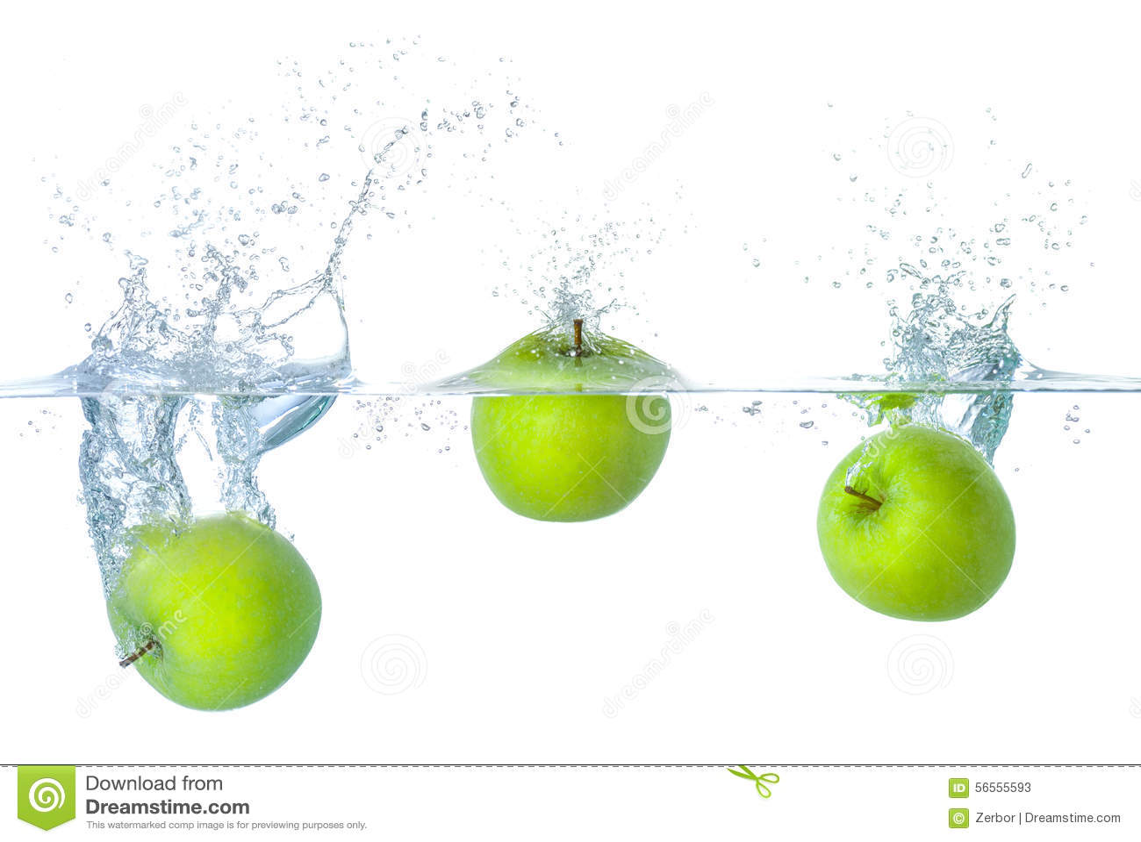 Download Μήλα που περιέρχονται στο νερό με τους παφλασμούς Στοκ Εικόνα - εικόνα από δυναμικός, κατάδυση: 56555593