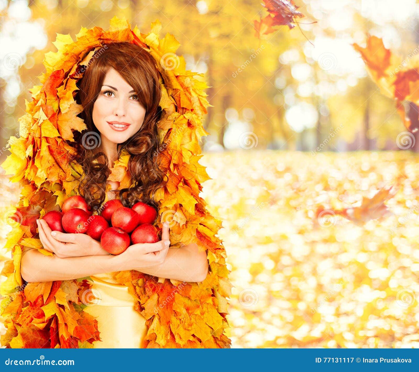 Μήλα φθινοπώρου, ενδύματα φύλλων πτώσης φρούτων γυναικών μόδας