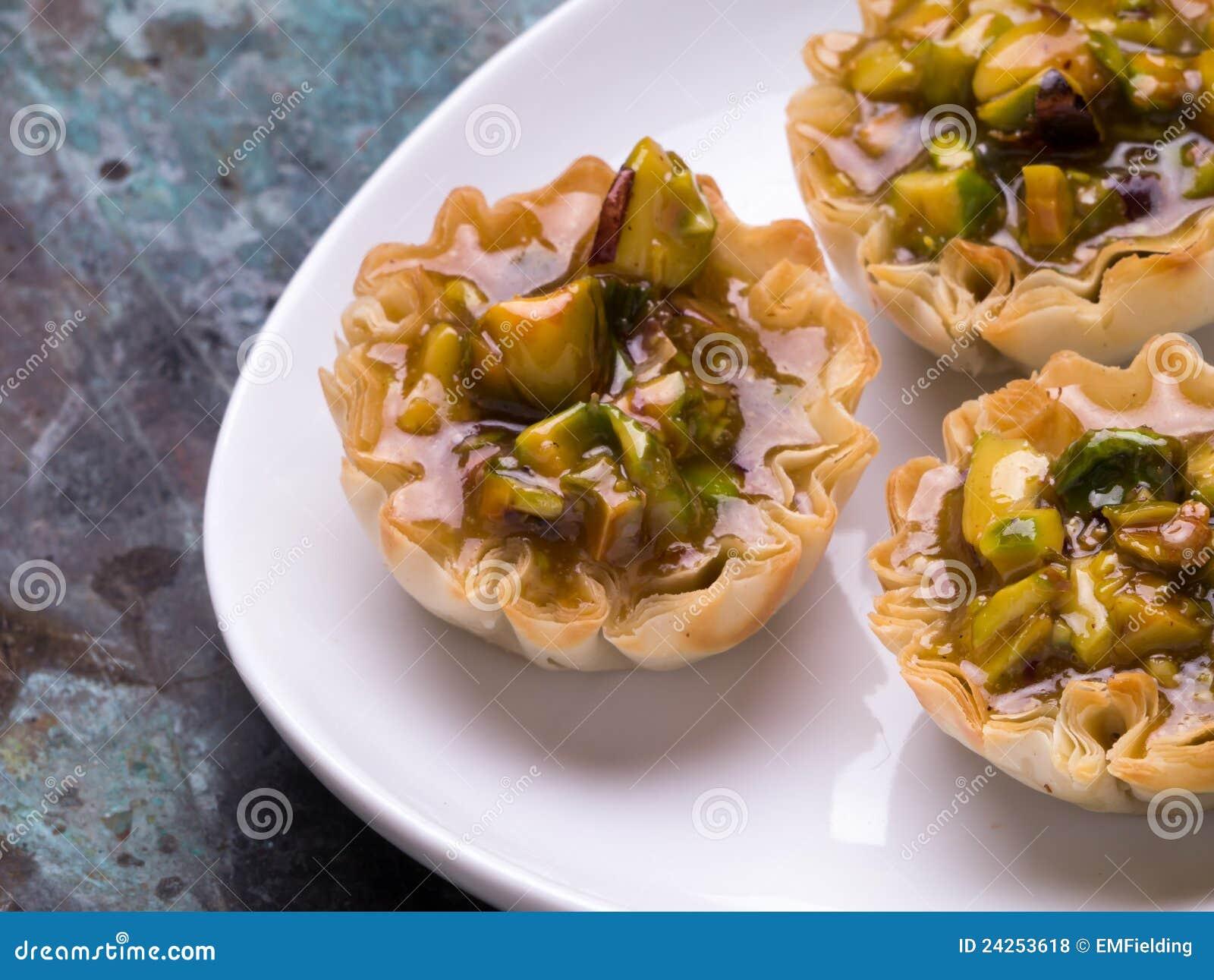 μίνι tarts φυστικιών επιδορπίων baklava