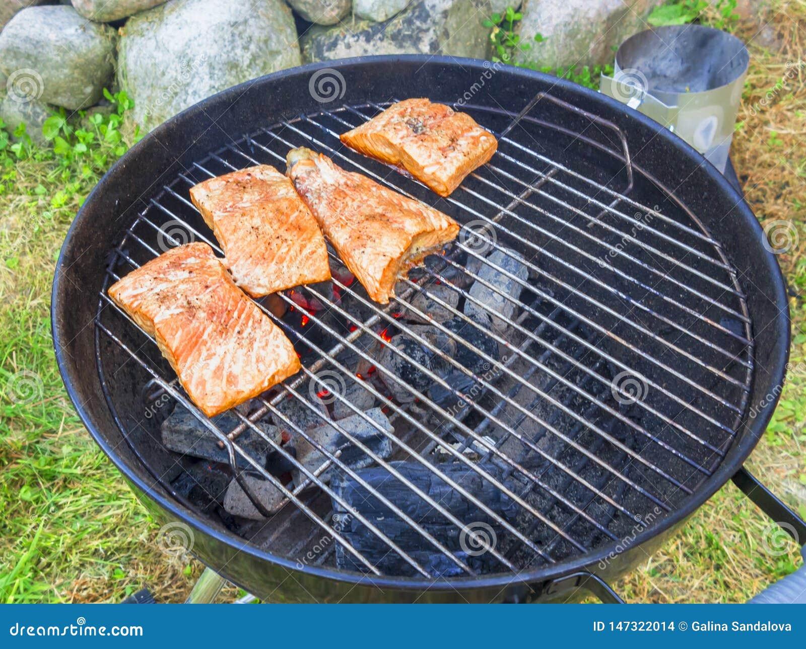 Μαγείρεμα των φρέσκων μπριζολών σολομών στη σχάρα, υπαίθρια το καλοκαίρι