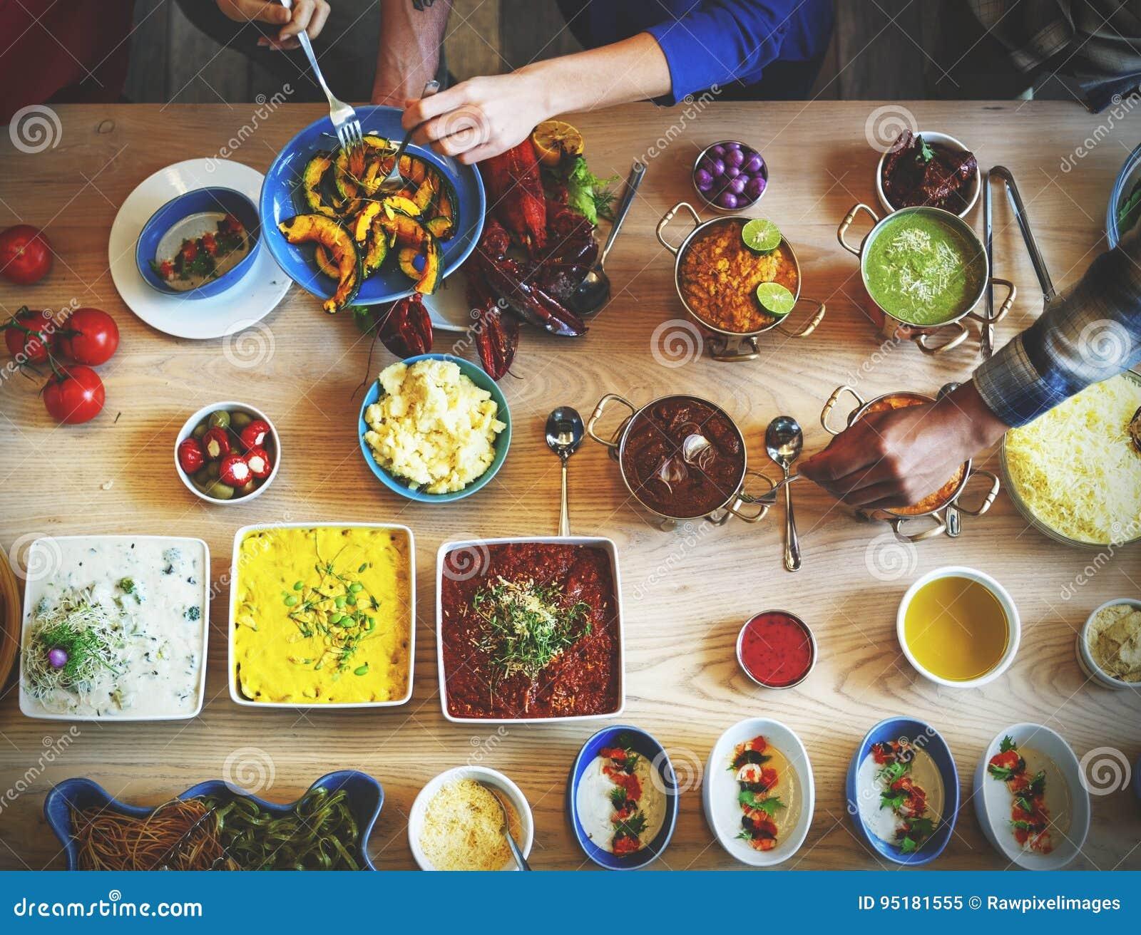 Μαγειρική γαστρονομική έννοια κόμματος μπουφέδων κουζίνας τομέα εστιάσεως τροφίμων