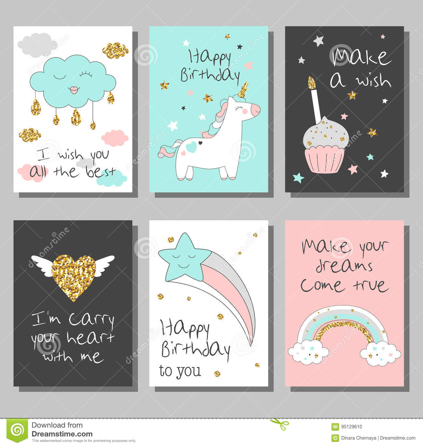 Μαγικές κάρτες σχεδίου που τίθενται με το μονόκερο, το ουράνιο τόξο, τις καρδιές, τα σύννεφα και άλλα στοιχεία