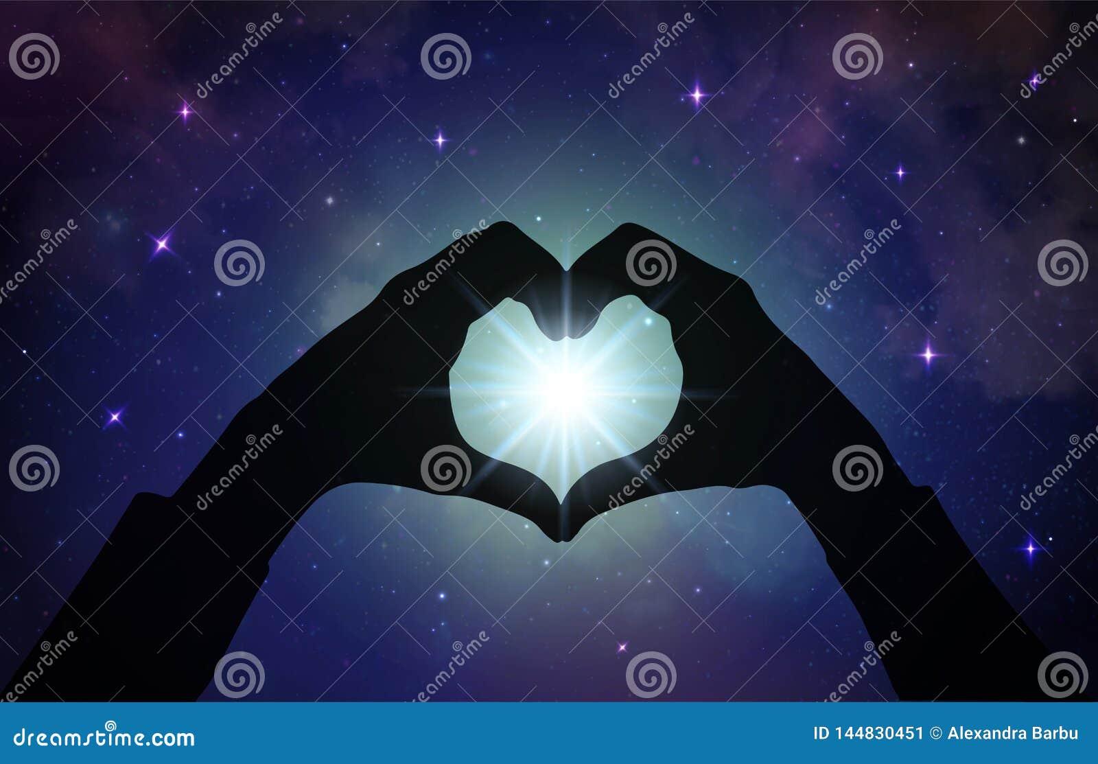Μαγική αγάπη που θεραπεύει την καθολική ενέργεια, χέρια καρδιών