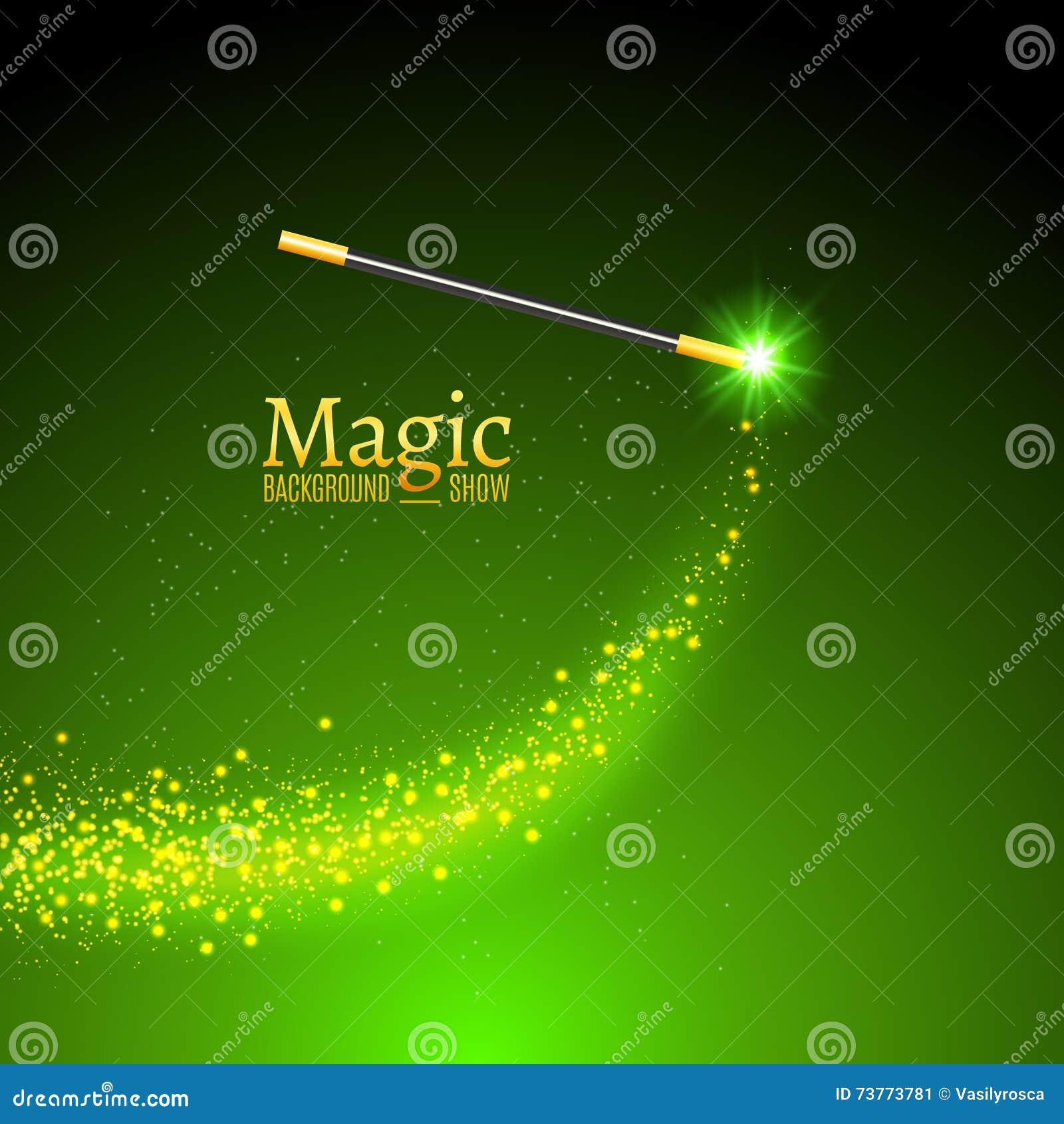 Μαγικό διανυσματικό υπόβαθρο ράβδων Ράβδος μάγων θαύματος με τα φω τα σπινθηρίσματος