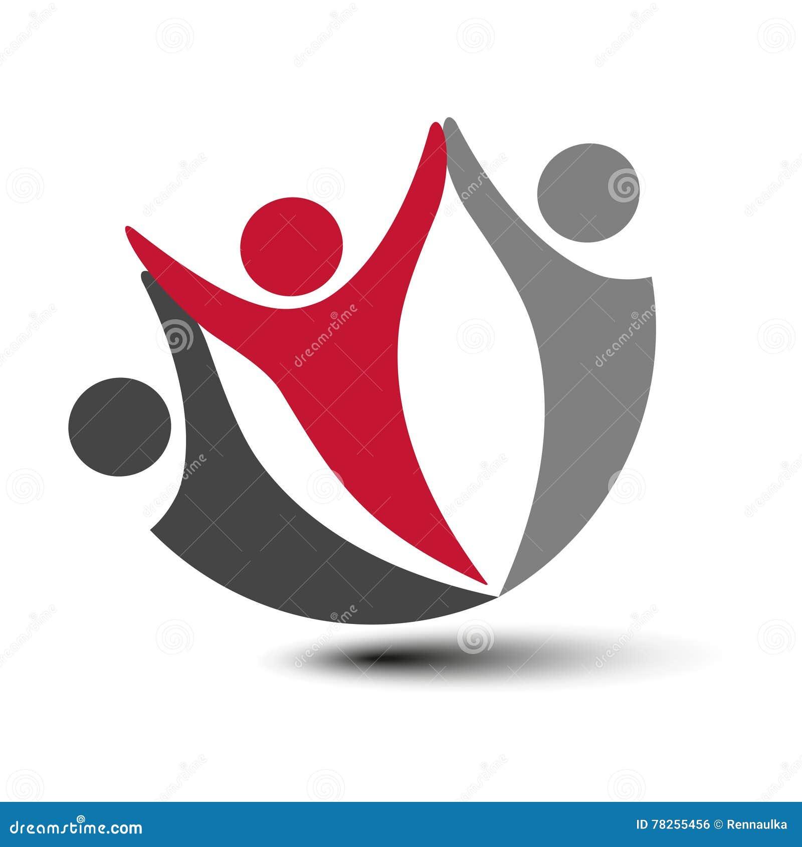 Μαζί ενωμένο εικονίδιο ανθρώπων Κόκκινο, γκρίζο και σκοτεινό γκρίζο κοινοτικό σύμβολο Ανθρώπινο σημάδι δύο συνεργατών Silhouttes