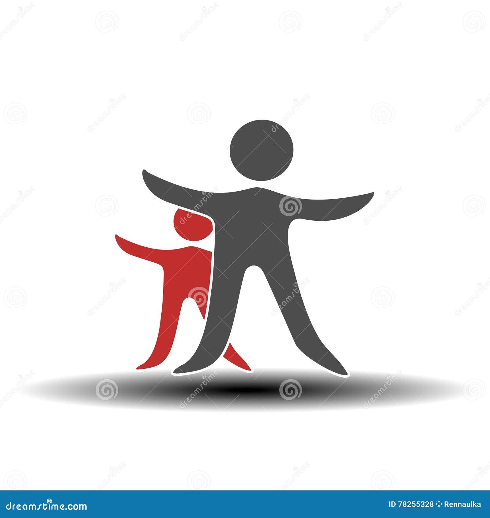 Μαζί ενωμένο εικονίδιο ανθρώπων Κόκκινο και γκρίζο κοινοτικό σύμβολο Ανθρώπινο σημάδι δύο συνεργατών Silhouttes του σώματος με το