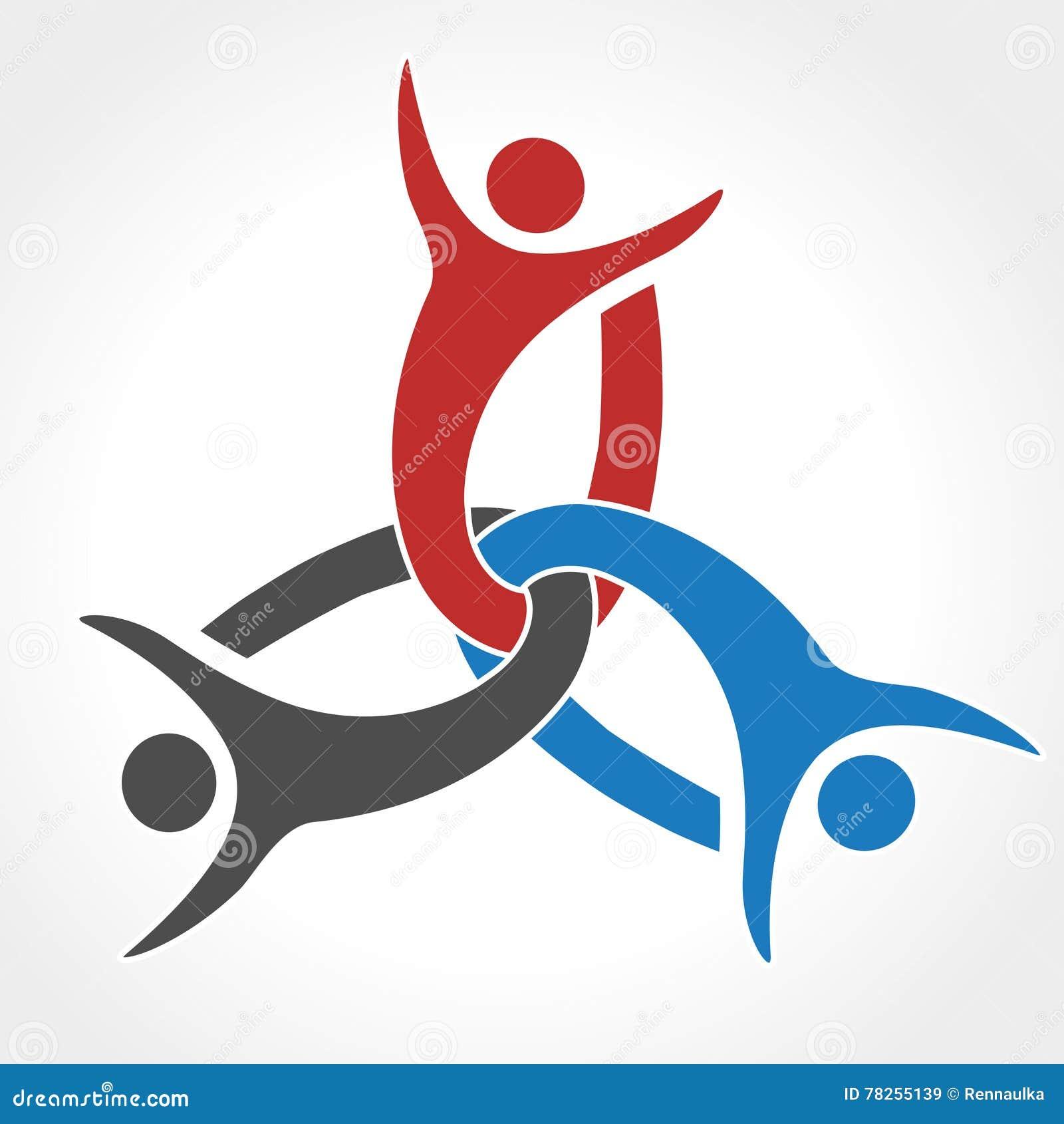 Μαζί ενωμένο εικονίδιο ανθρώπων Κόκκινο, μπλε και γκρίζο κοινοτικό σύμβολο Ανθρώπινο σημάδι δύο συνεργατών Silhouttes του σώματος