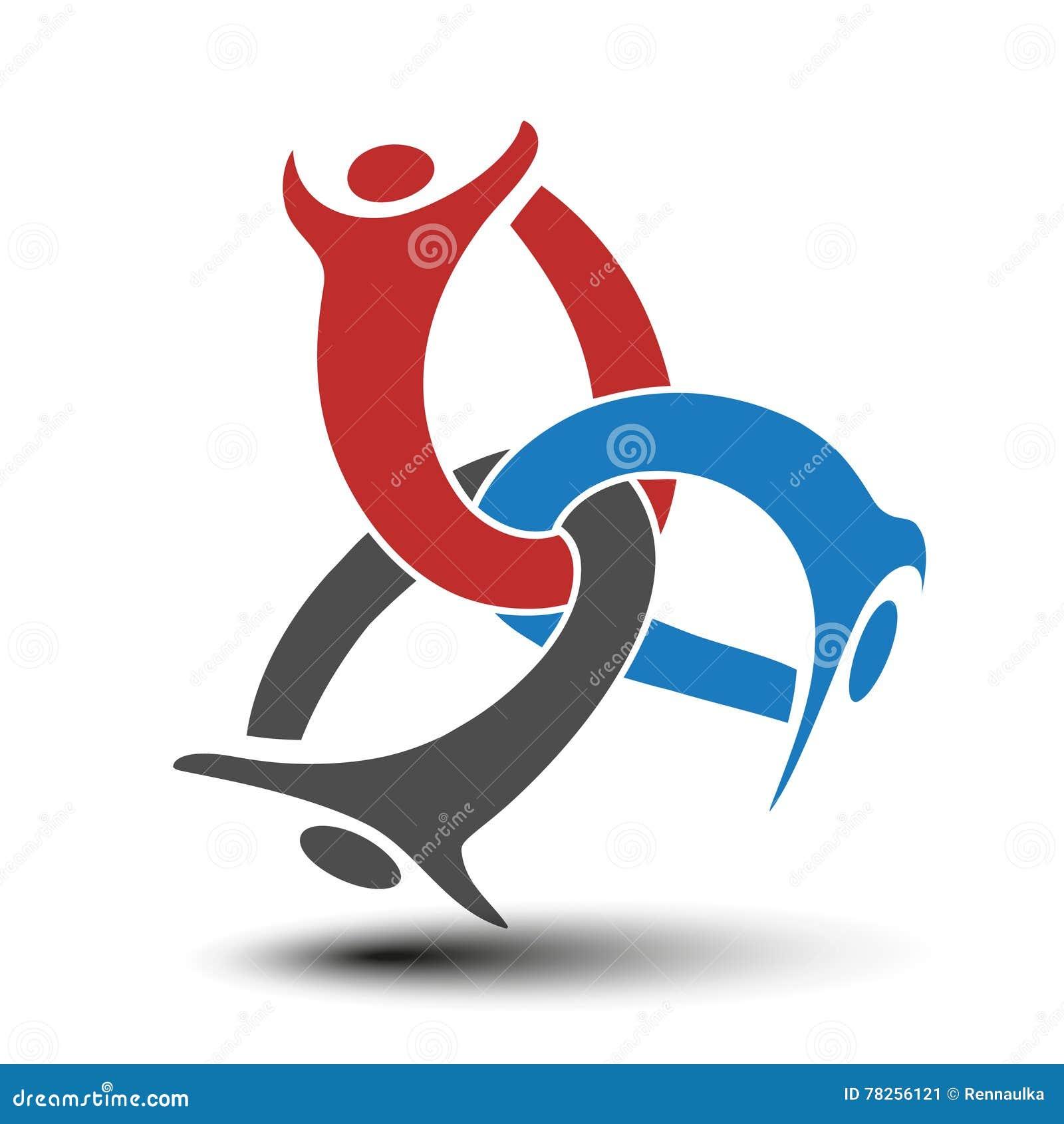 Μαζί ενωμένο εικονίδιο ανθρώπων Κόκκινο, μπλε και γκρίζο κοινοτικό σύμβολο Ανθρώπινο σημάδι τριών συνεργατών Το Silhouttes του σώ