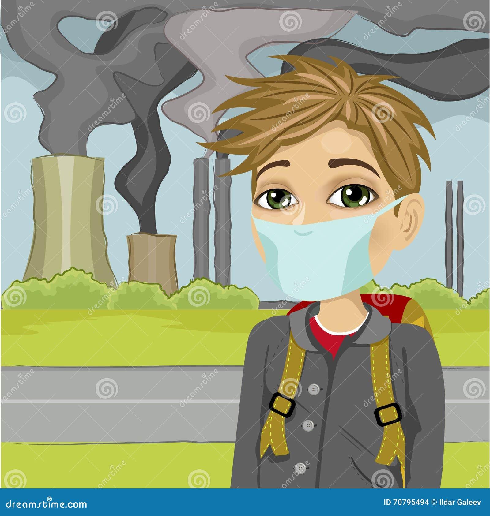 Μαθητής που φορά την προστατευτική μάσκα ενάντια στη μολυσμένη πόλη