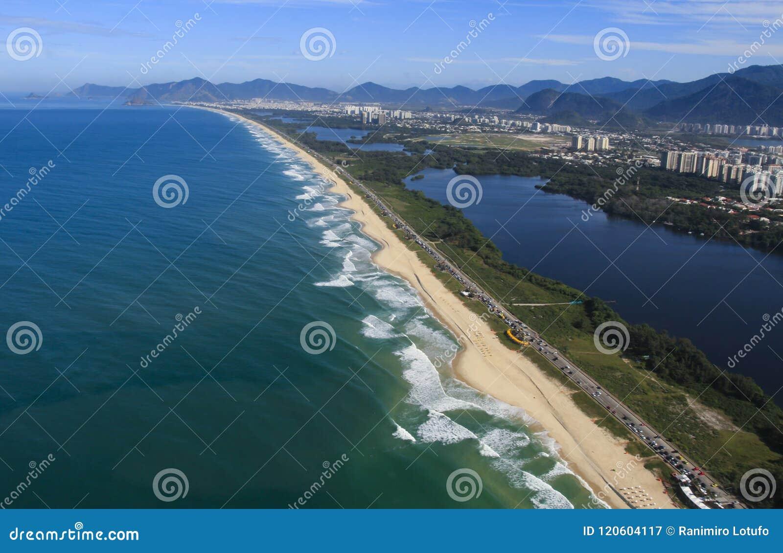 Μακριές και θαυμάσιες παραλίες, παραλία DOS Bandeirantes Recreio, Ρίο ντε Τζανέιρο Βραζιλία
