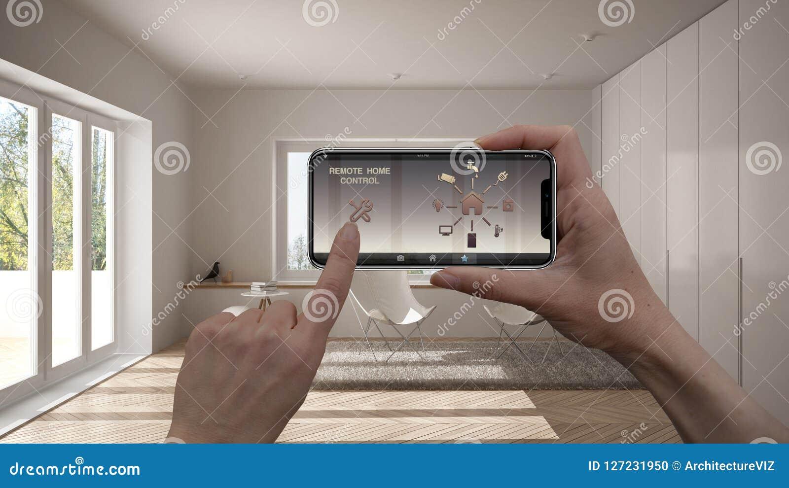 Μακρινό εγχώριο σύστημα ελέγχου σε μια ψηφιακή έξυπνη τηλεφωνική ταμπλέτα Συσκευή με app τα εικονίδια Εσωτερικό του μινιμαλιστικο