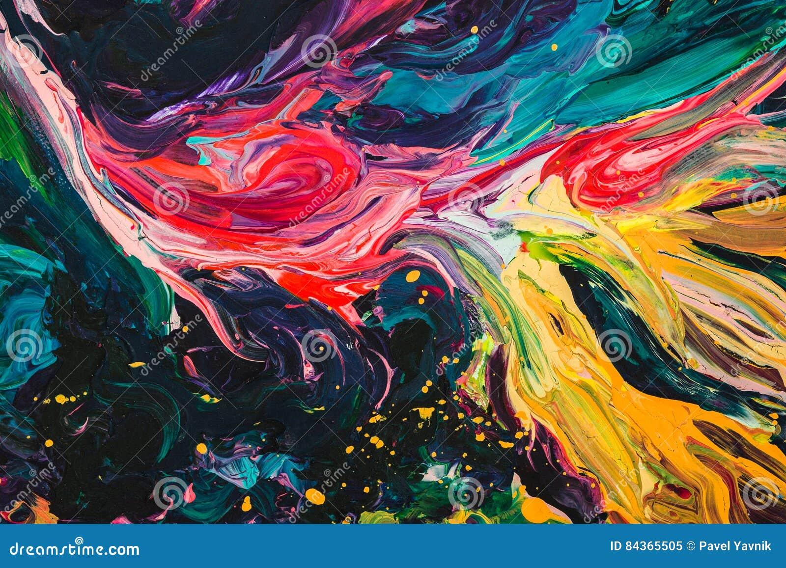 Μακρο στενός επάνω του διαφορετικού ελαιοχρώματος χρώματος ζωηρόχρωμος ακρυλικός Έννοια σύγχρονης τέχνης