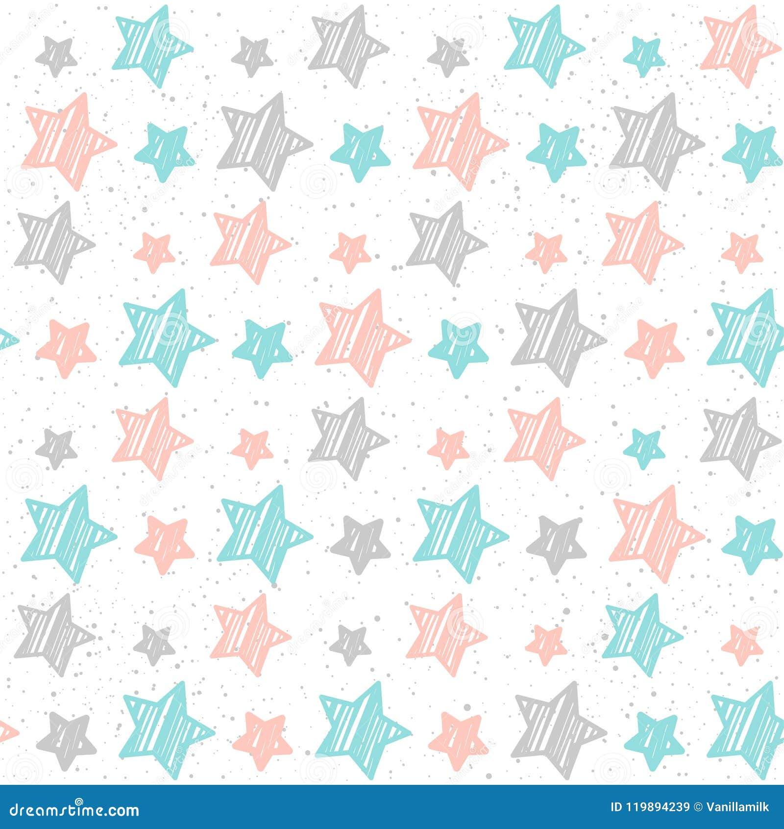 Μαλακό άνευ ραφής υπόβαθρο αστεριών κρητιδογραφιών Γκρίζο, ρόδινο και μπλε αστέρι
