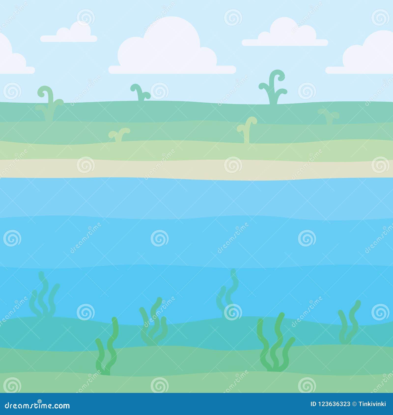 Μαλακό τοπίο φύσης Ακτή με μερικές εγκαταστάσεις και υποβρύχια άποψη με το φύκι Σκηνή για το έργο τέχνης σας, infographic