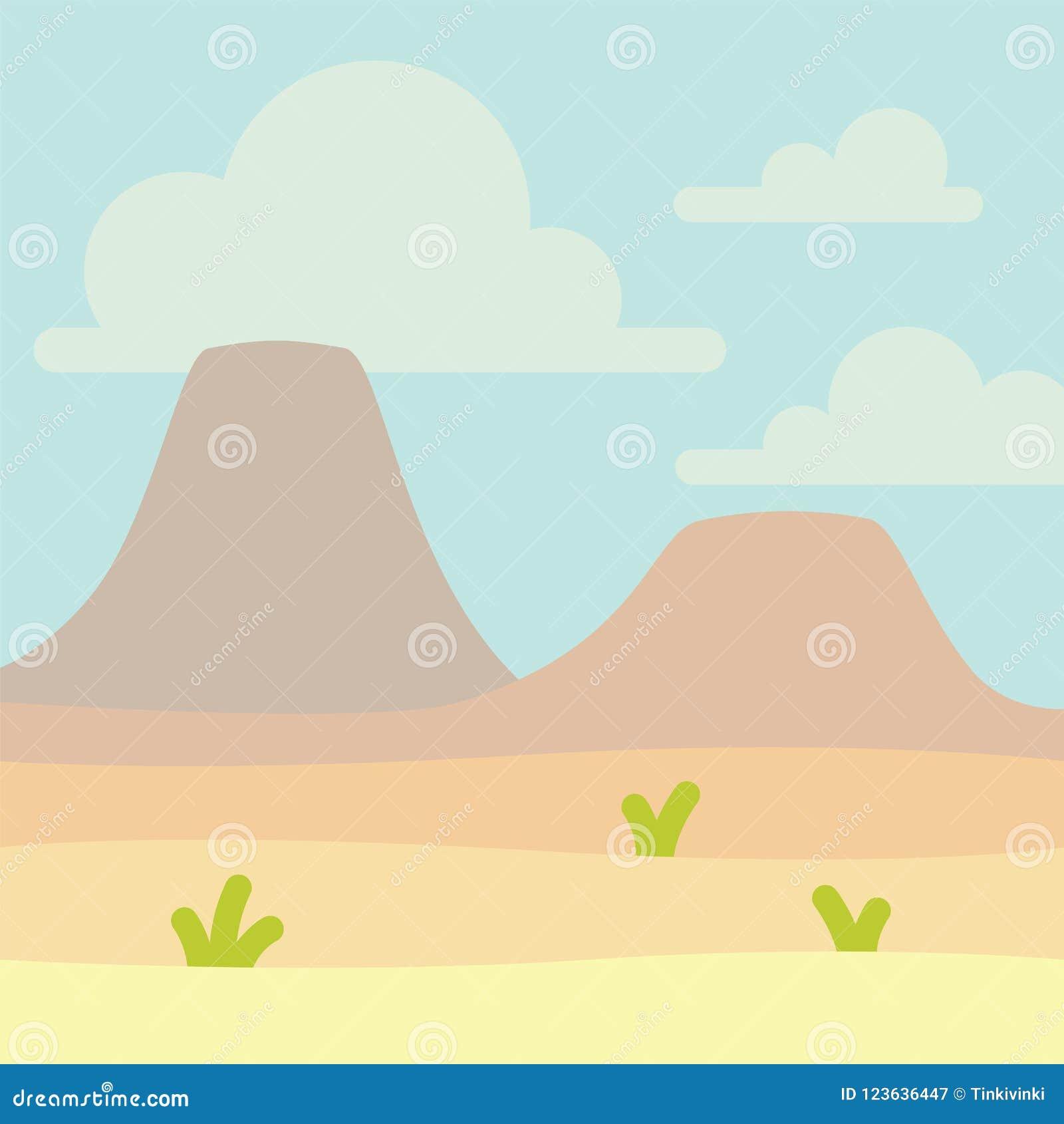 Μαλακό τοπίο φύσης με το μπλε ουρανό, την έρημο, τα ηφαίστεια ή τα βουνά και κάποια πράσινη χλόη Κενό διάστημα με κανένα