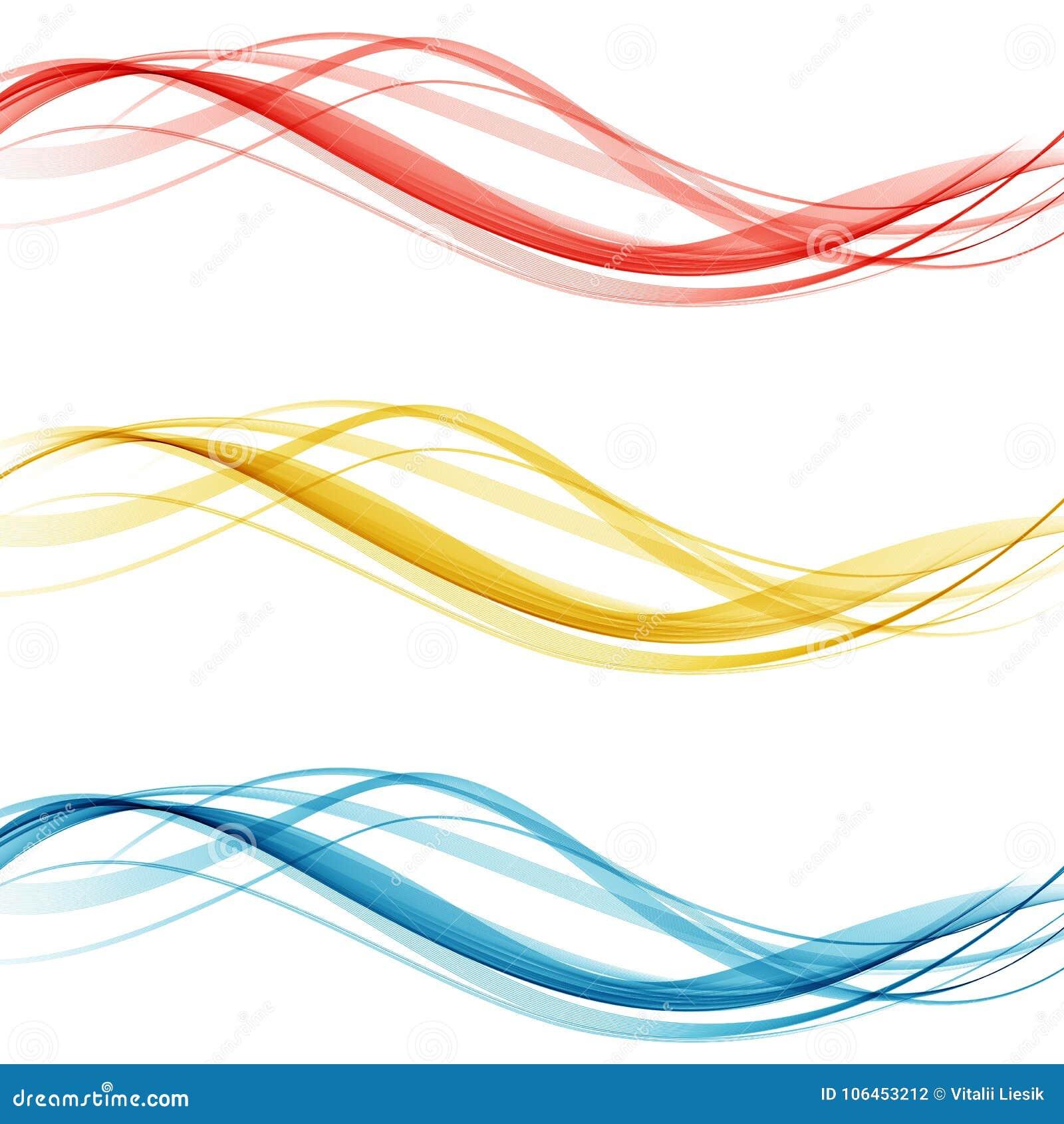 Μαλακό φωτεινό ζωηρόχρωμο σύνολο σχεδιαγράμματος συνόρων Ιστού όμορφης σύγχρονης συλλογής επιγραφών κυμάτων swoosh επίσης corel σ