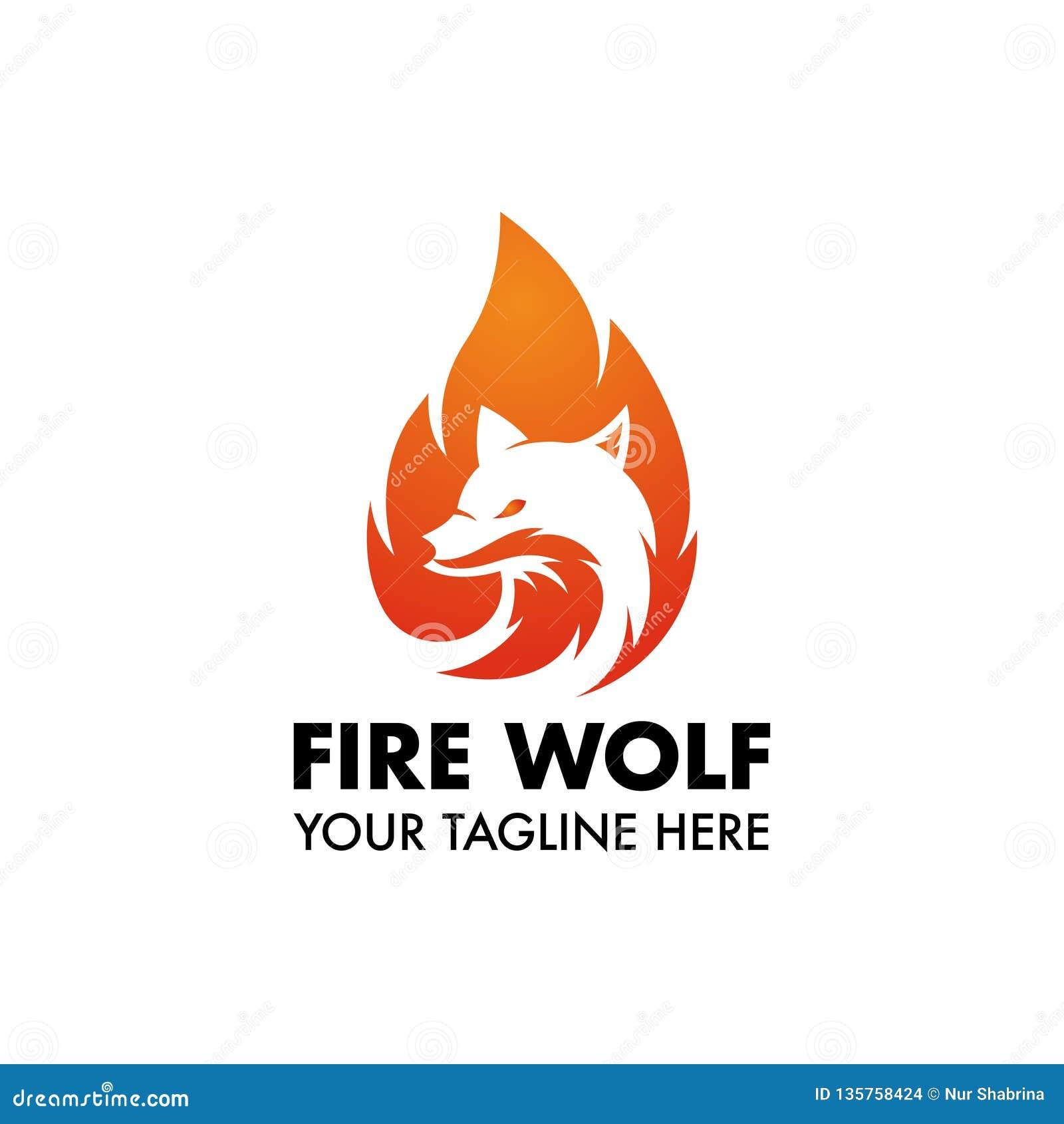 Μασκότ ή λογότυπο λύκων πυρκαγιάς για το σχέδιο ή την επιχείρησή σας