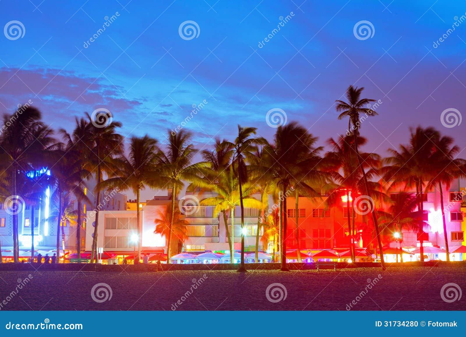 Μαϊάμι Μπιτς, ξενοδοχεία της Φλώριδας και εστιατόρια στο ηλιοβασίλεμα