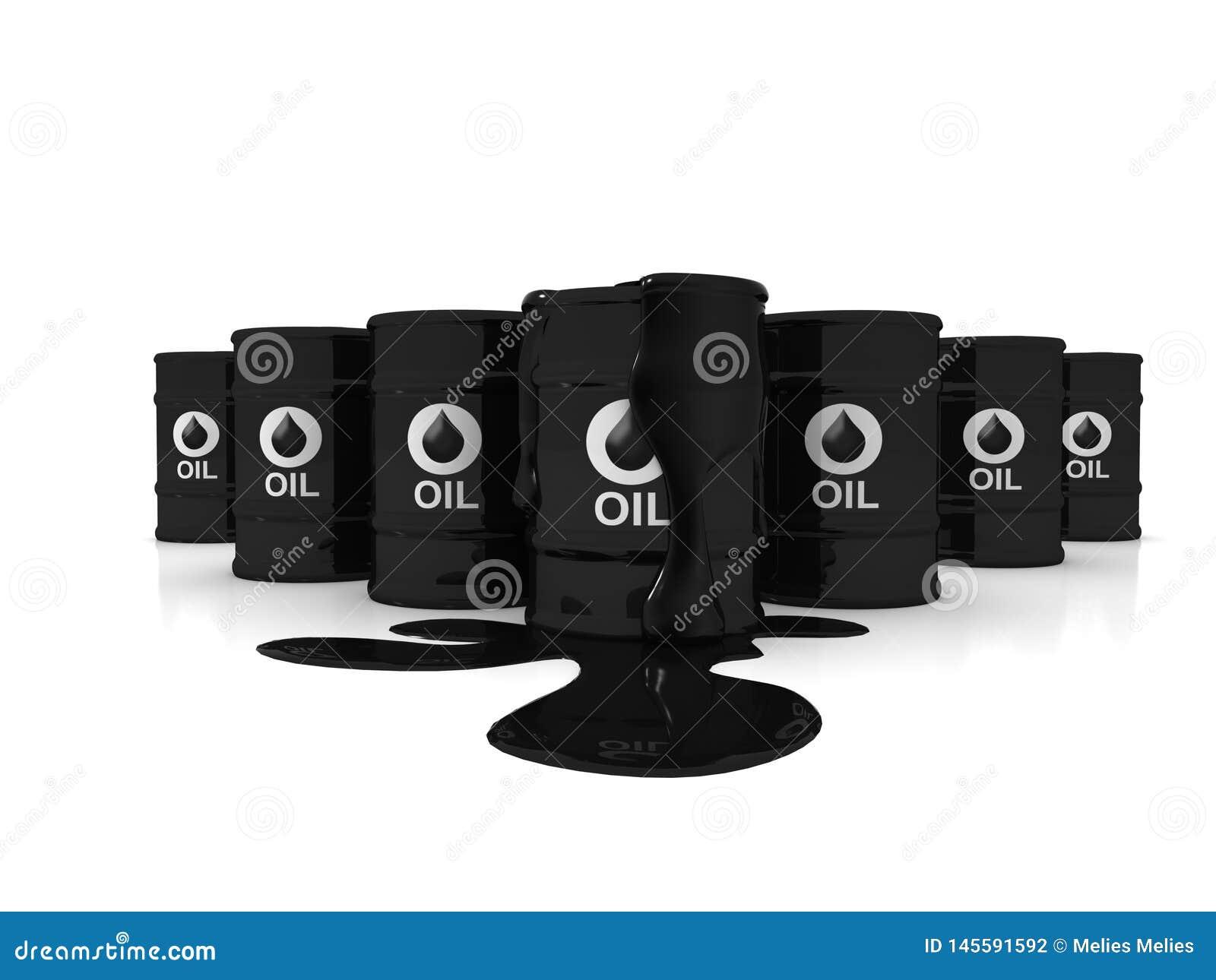 Μαύρα βαρέλια πετρελαίου μετάλλων στο άσπρο υπόβαθρο