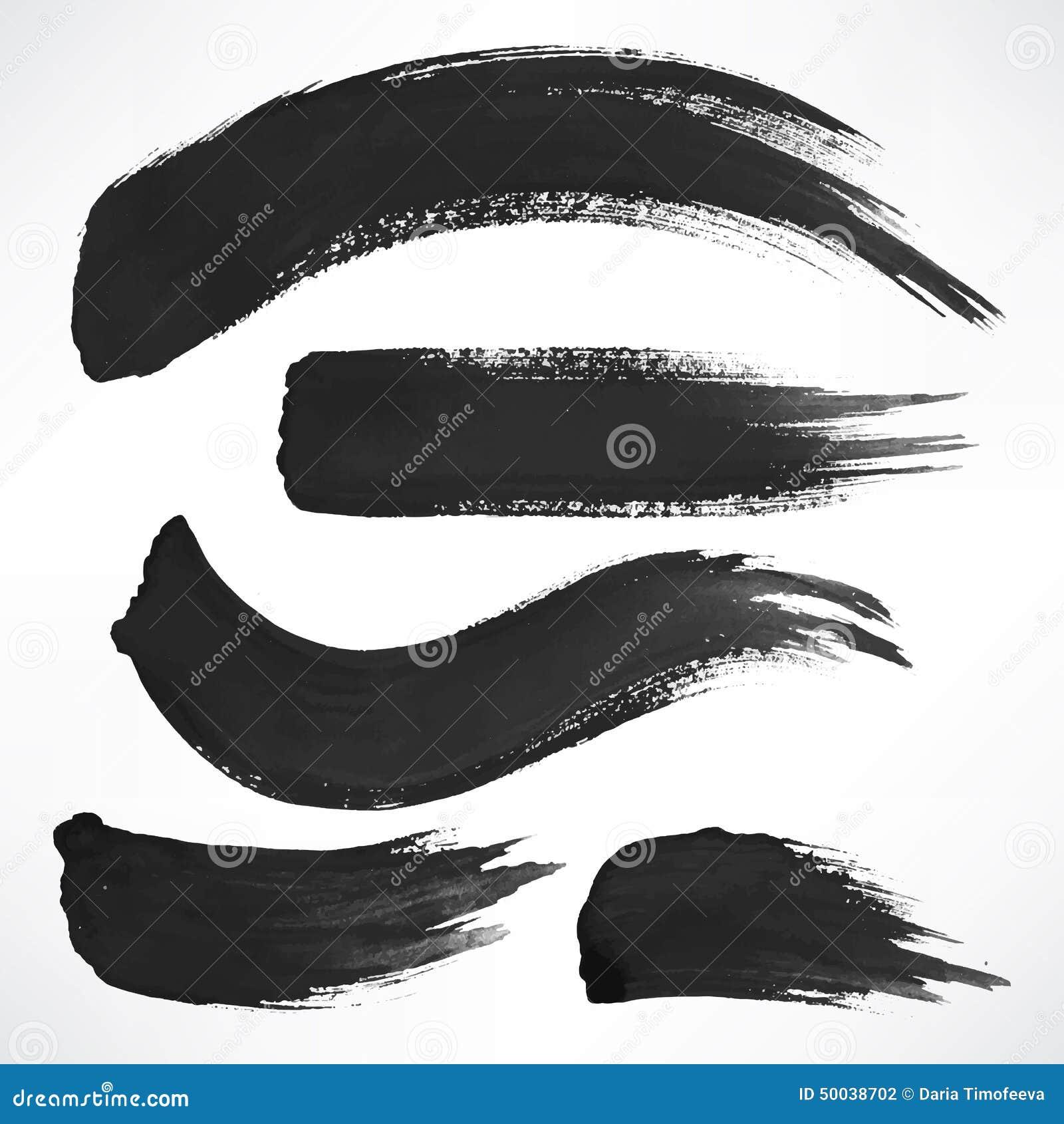 Μαύρα κτυπήματα βουρτσών watercolor
