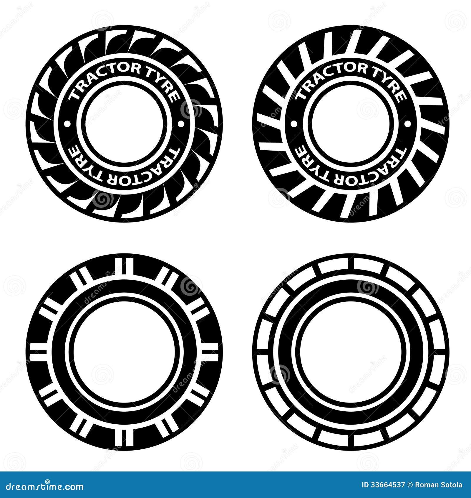 Μαύρα σύμβολα ελαστικών αυτοκινήτου τρακτέρ
