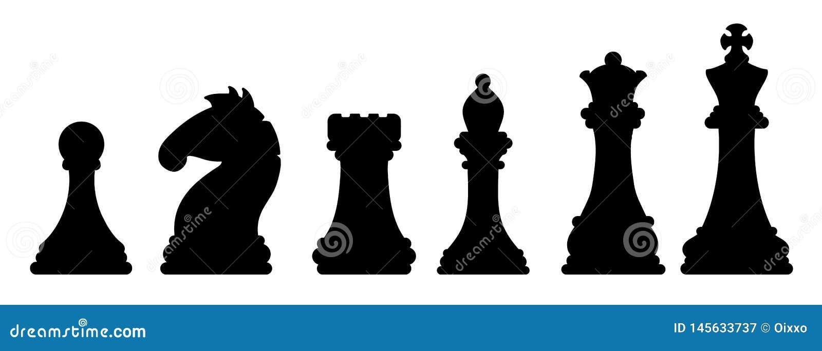 Μαύρες σκιαγραφίες κομματιών σκακιού Εικόνα έννοιας παιχνιδιών