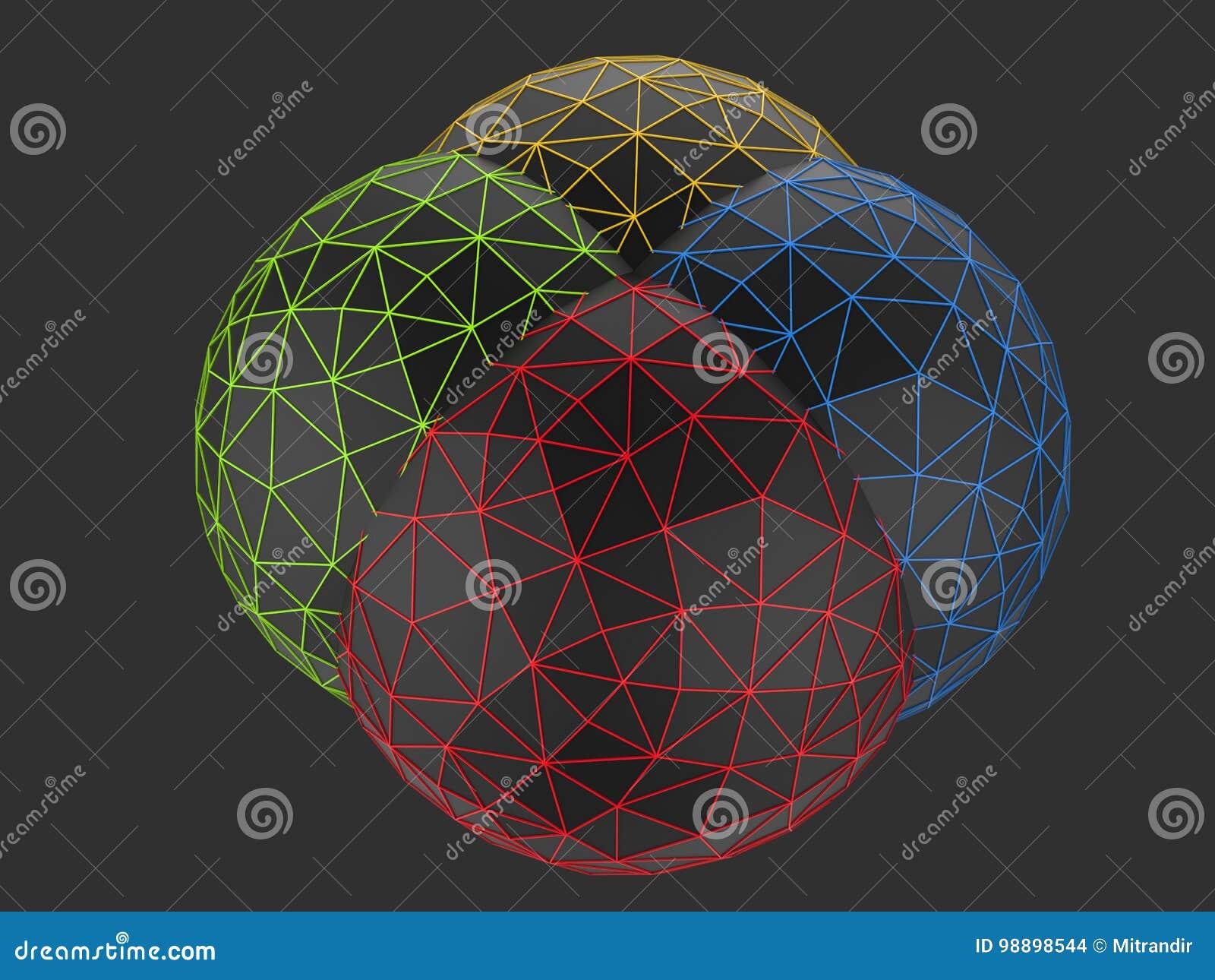 Μαύρες χαμηλές πολυ σφαίρες - κόκκινοι, πράσινοι κίτρινος και μπλε