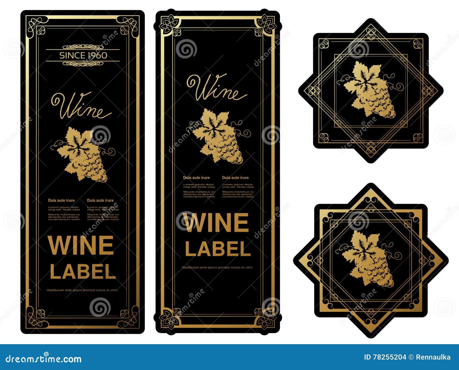 Μαύρες χρυσές ετικέτες κρασιού με τα σταφύλια στο άσπρο υπόβαθρο Πλαίσια ορθογωνίων και αστεριών στο μπουκάλι κρασιού Διακοσμητικ