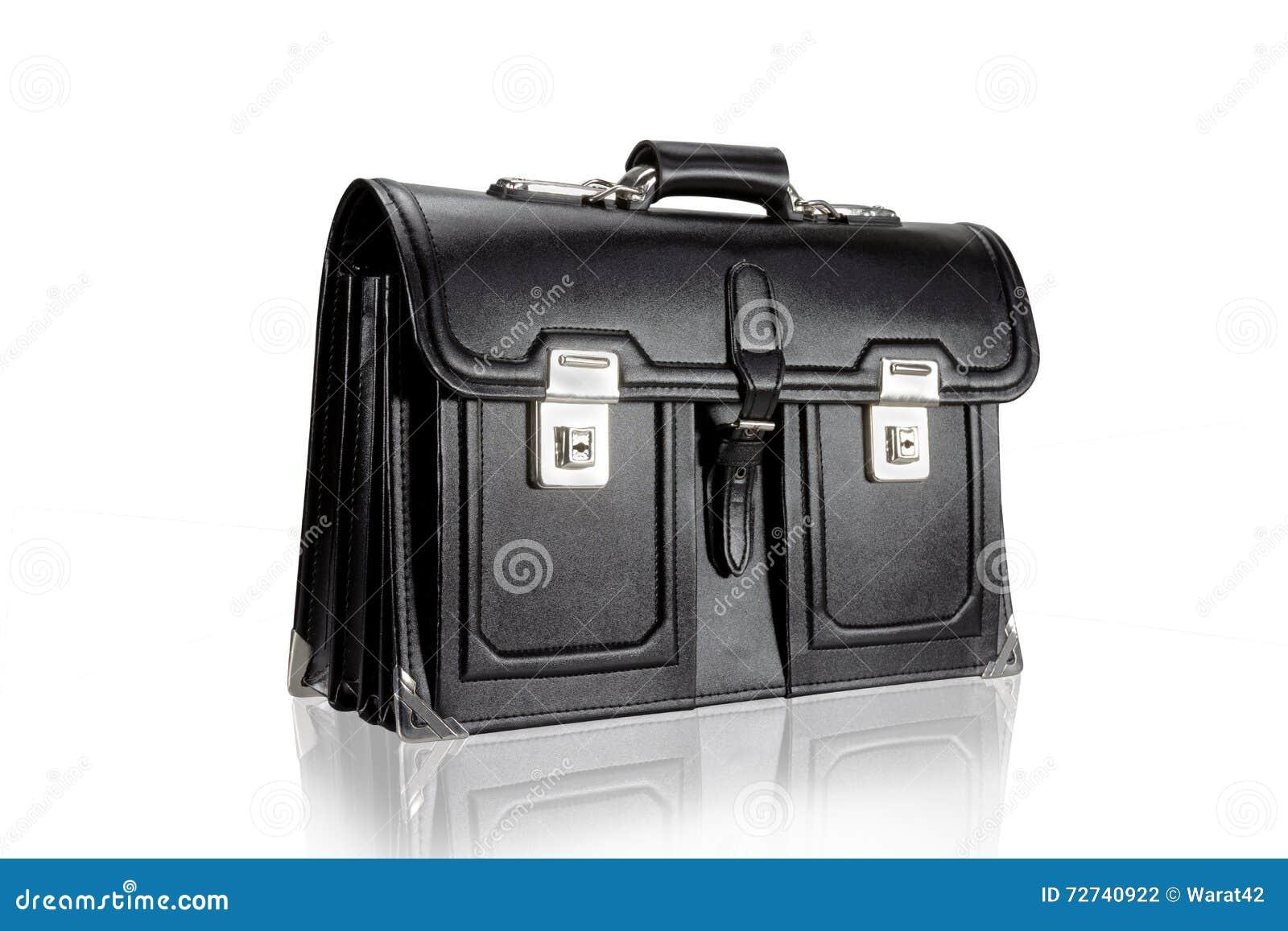 0cf060a682 Μαύρη αναδρομική σχολική τσάντα δέρματος που απομονώνεται στο άσπρο υπόβαθρο