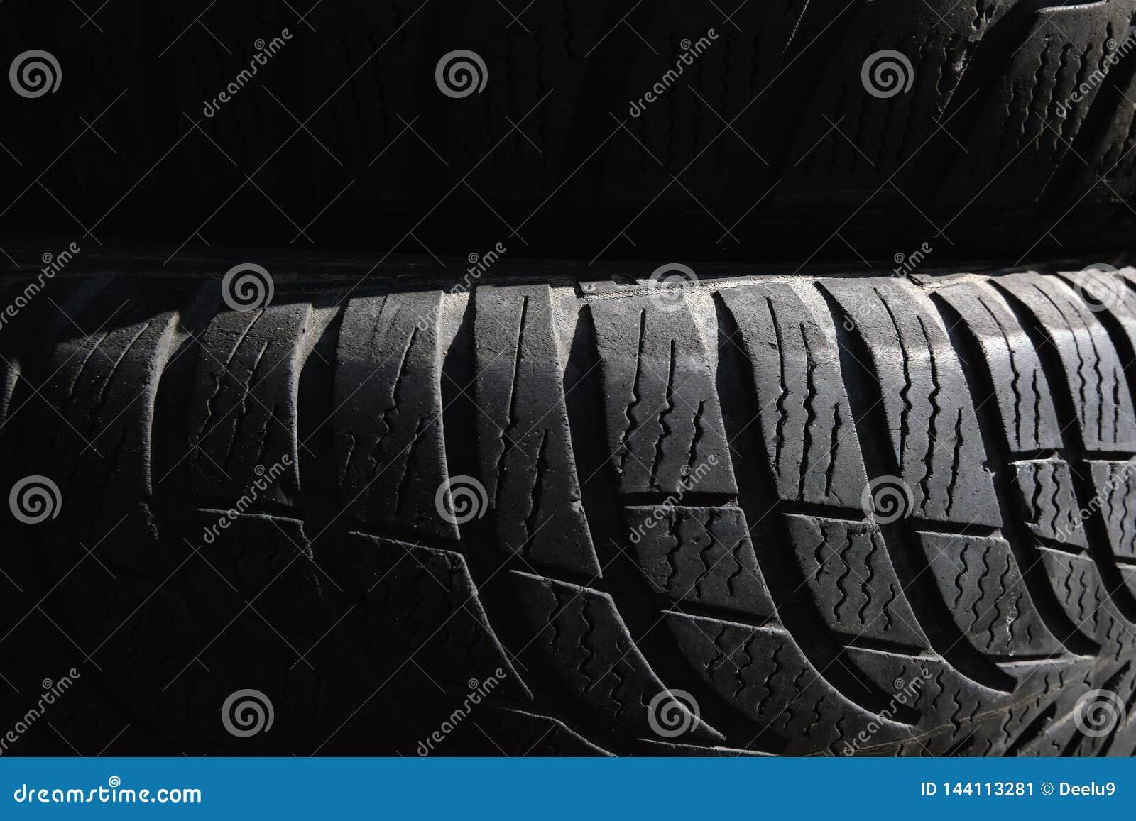 Μαύρη εικόνα υποβάθρου ελαστικών αυτοκινήτου Μαύρη σύσταση, σκηνικό