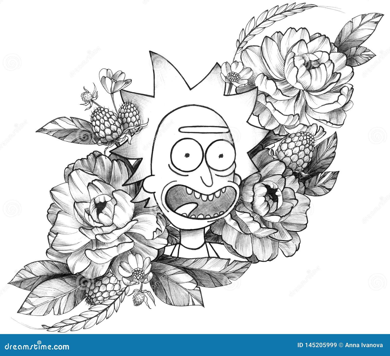Μαύρη λεπτομερής μελάνι δερματοστιξία αστείο Rick στη Floral σύνθεση