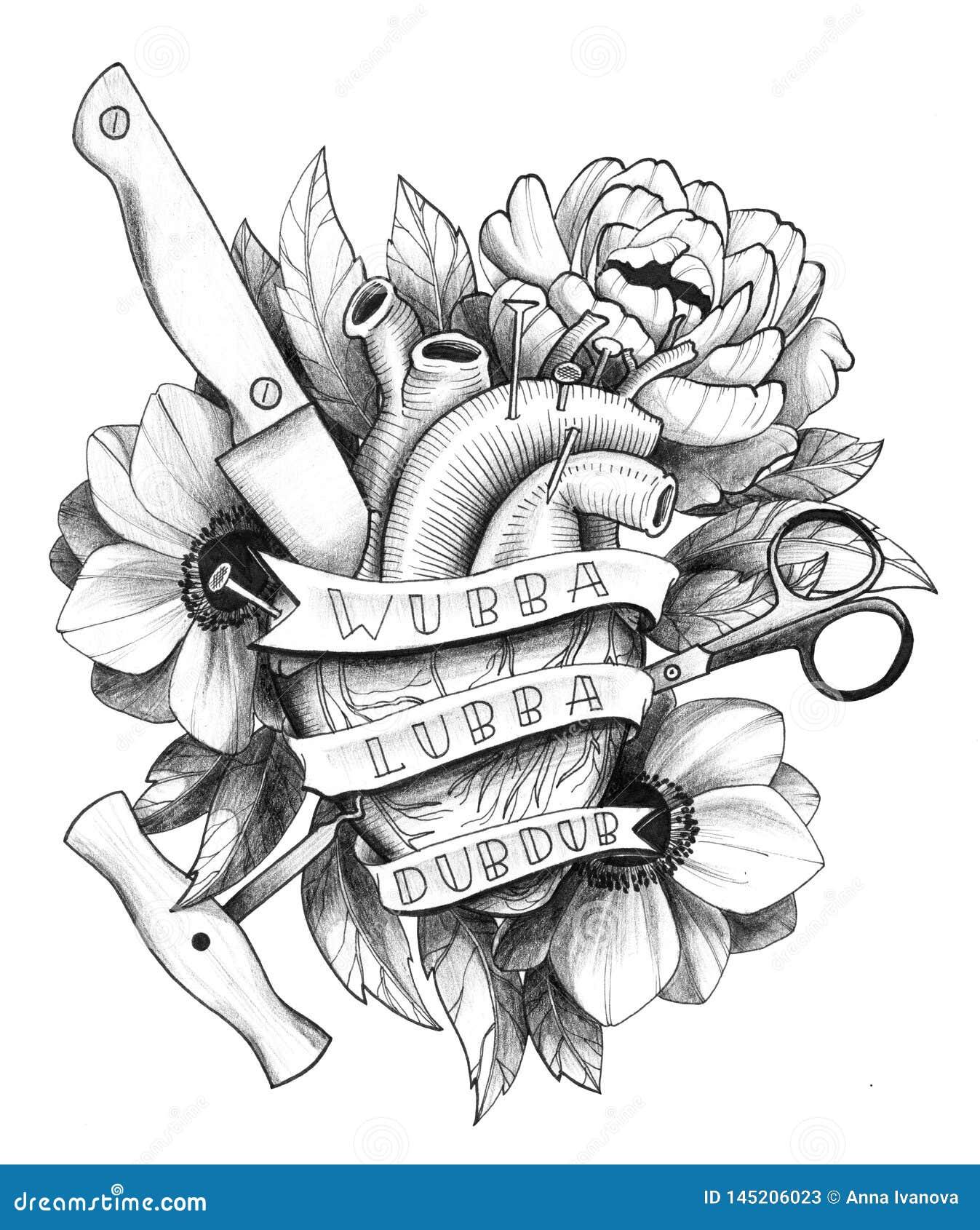 Μαύρη λεπτομερής μελάνι καρδιά Hurted δερματοστιξιών στη Floral σύνθεση