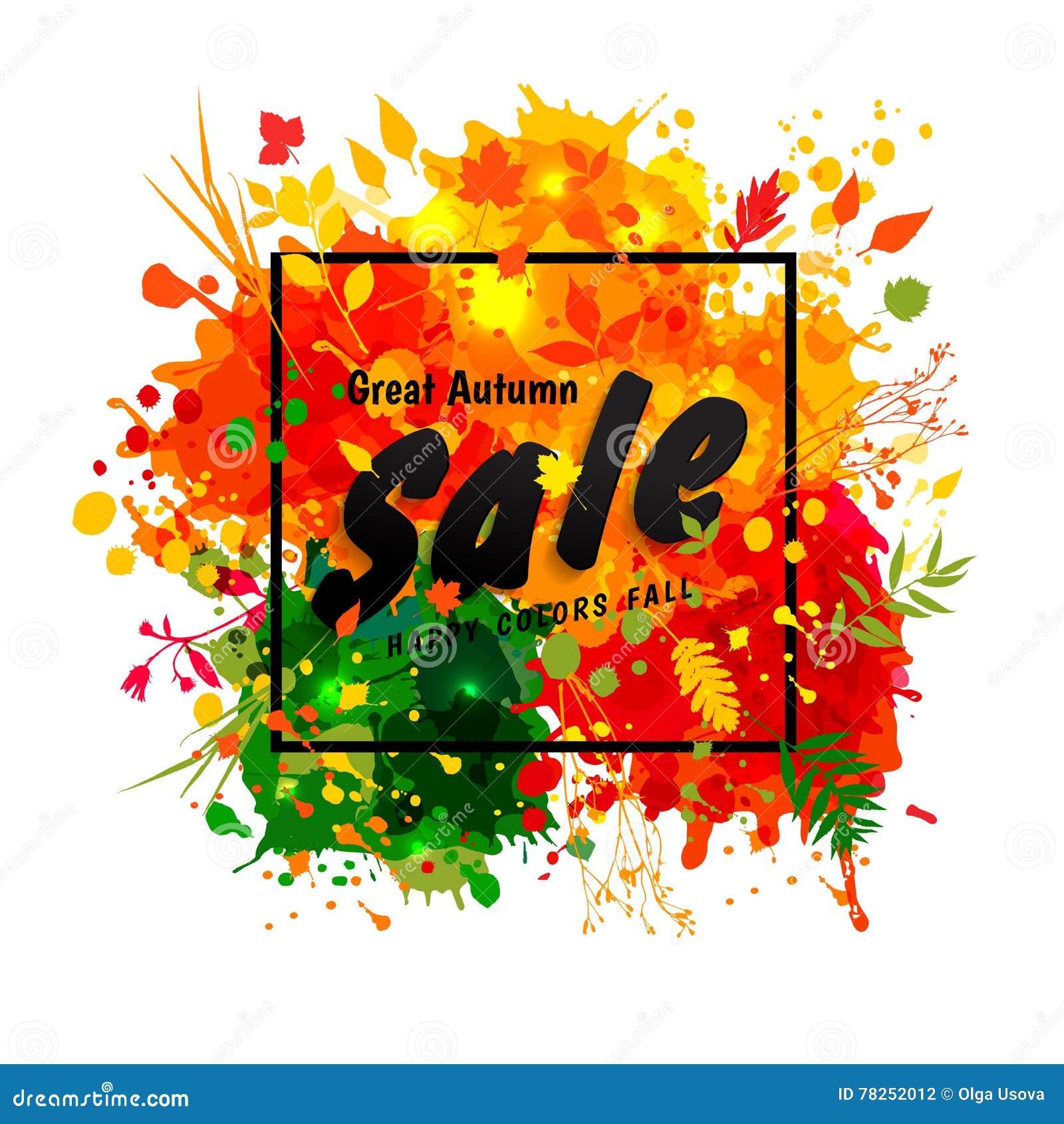 Μαύρη πώληση φθινοπώρου κειμένων μεγάλη στο πλαίσιο στους πολύχρωμους λεκέδες backgr