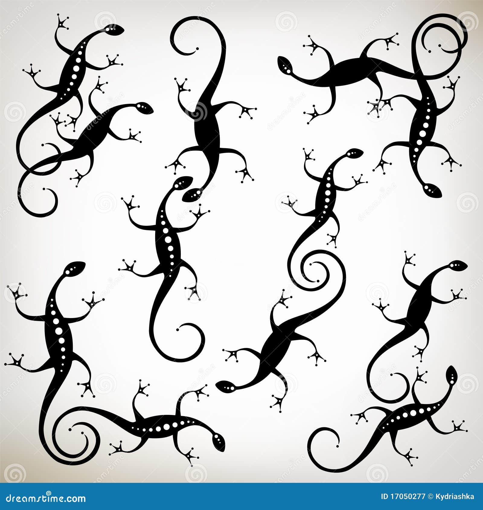 μαύρη σκιαγραφία σαυρών σ&upsil