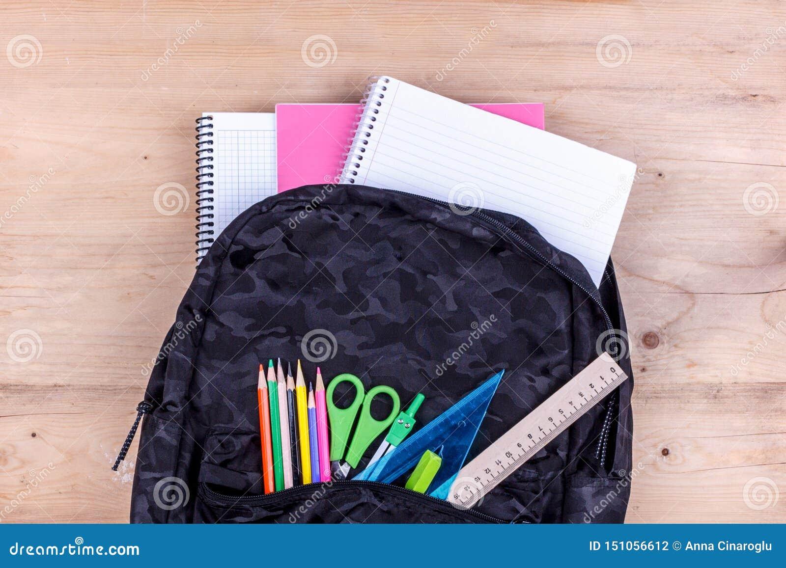Μαύρη σχολική τσάντα με ένα σύνολο χαρτικών για το σπουδαστή και με το άσπρο σημειωματάριο σε τα E