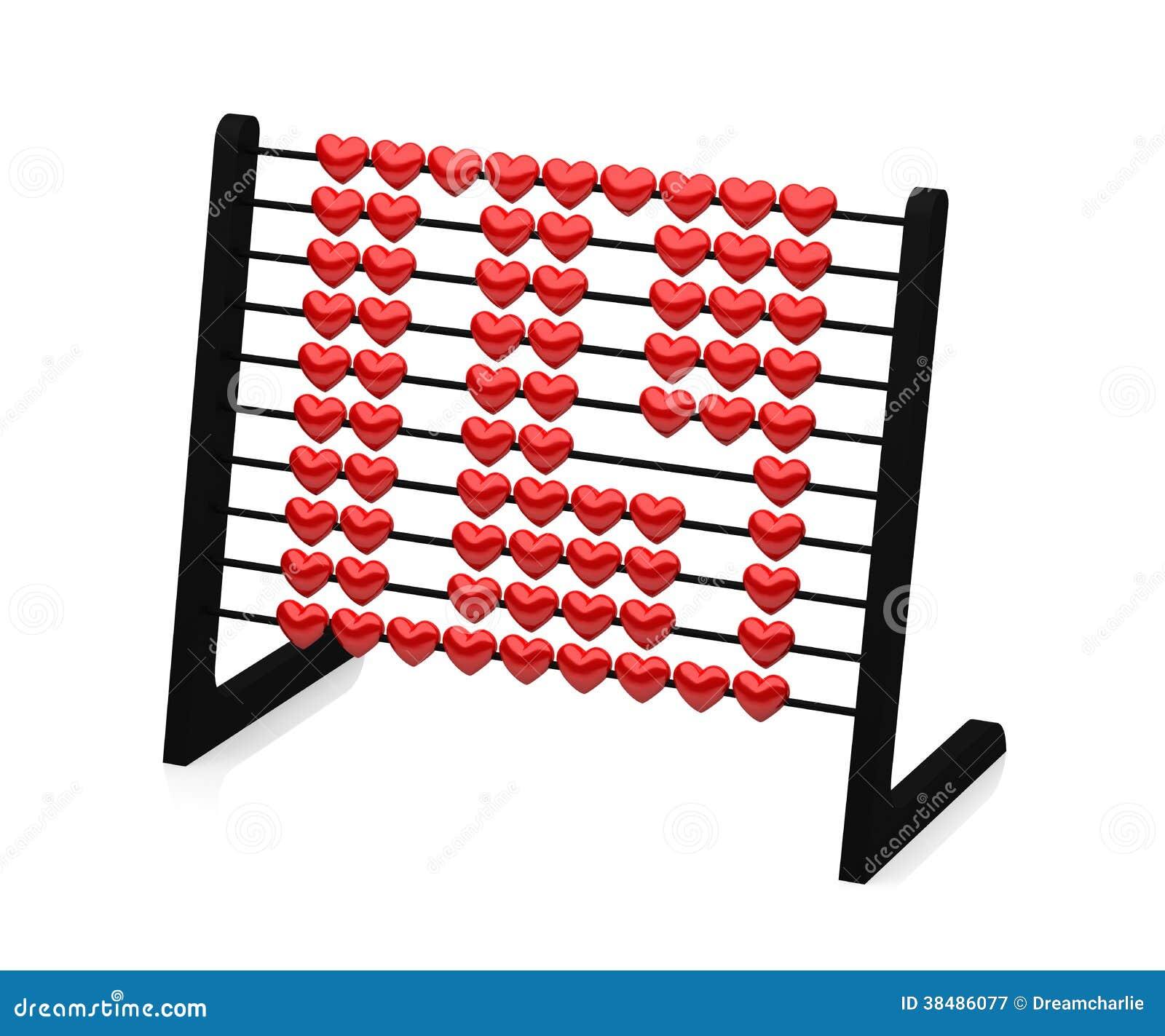 Μαύρος άβακας με τις κόκκινες καρδιές που επεξηγούν τον αριθμό δεκατέσσερα - τρισδιάστατη απόδοση -
