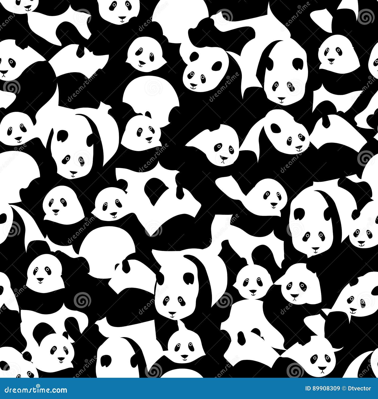 Μαύρος άσπρος της Panda πολλοί άνευ ραφής σχέδιο