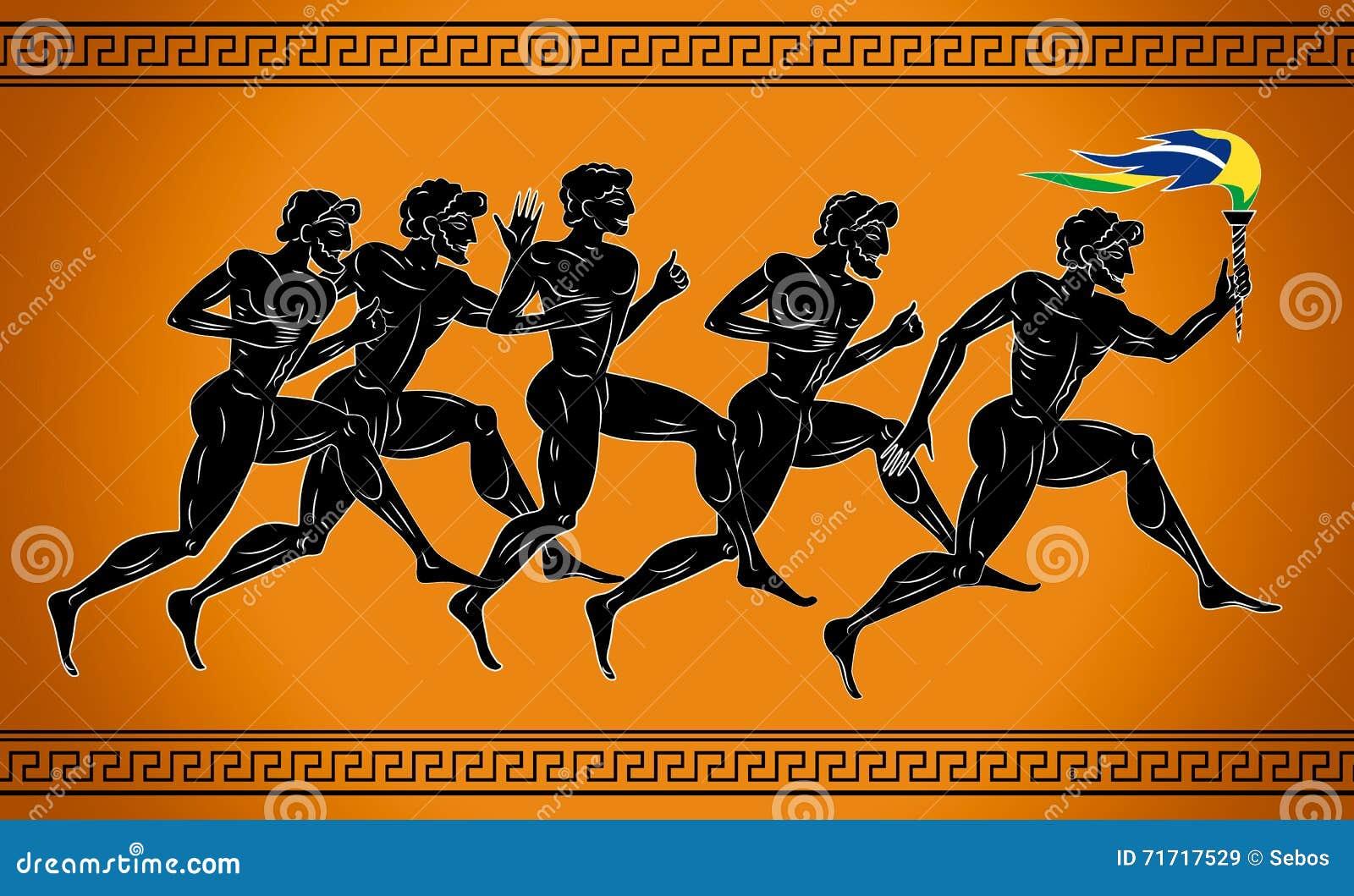 Μαύρος-λογαριασμένοι δρομείς με το φανό στα χρώματα της βραζιλιάνας σημαίας Απεικόνιση στο ύφος αρχαίου Έλληνα