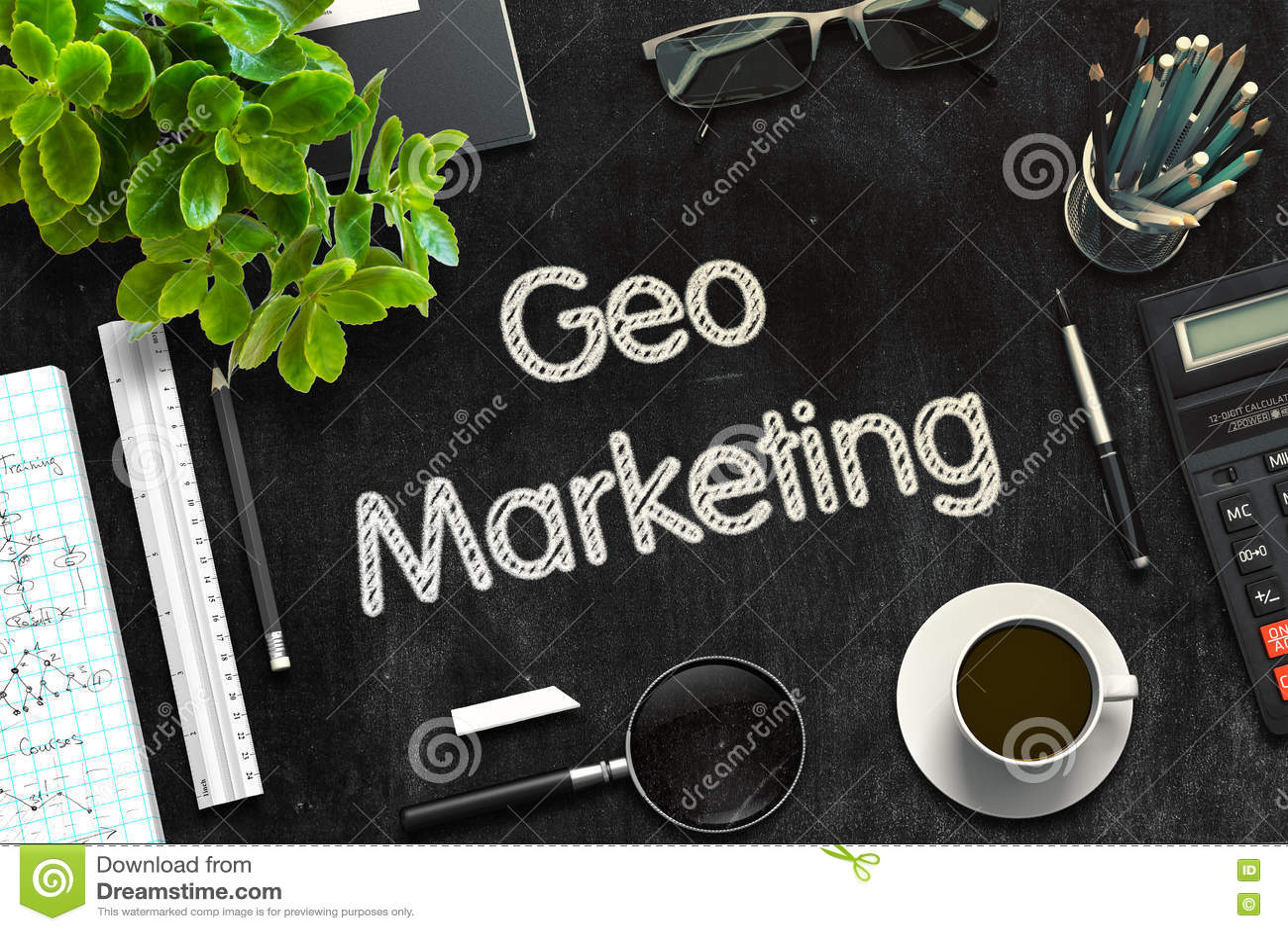 Μαύρος πίνακας κιμωλίας με το μάρκετινγκ Geo τρισδιάστατη απόδοση