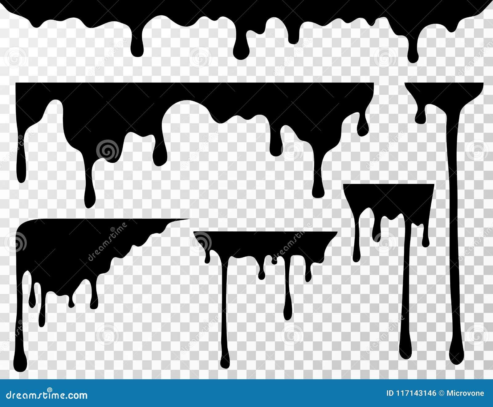 Μαύρος στάζοντας λεκές πετρελαίου, υγρές σταλαγματιές ή τρέχουσες διανυσματικές σκιαγραφίες μελανιού χρωμάτων που απομονώνονται