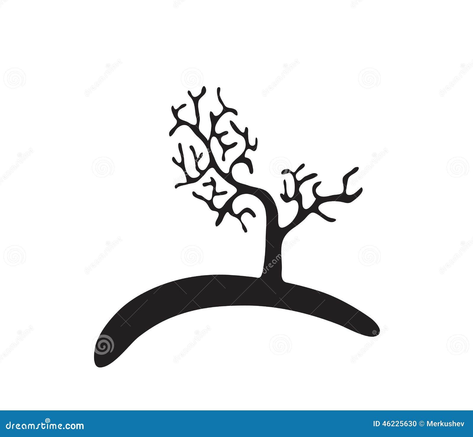 Μαύρο δέντρο χωρίς φύλλα, διάνυσμα