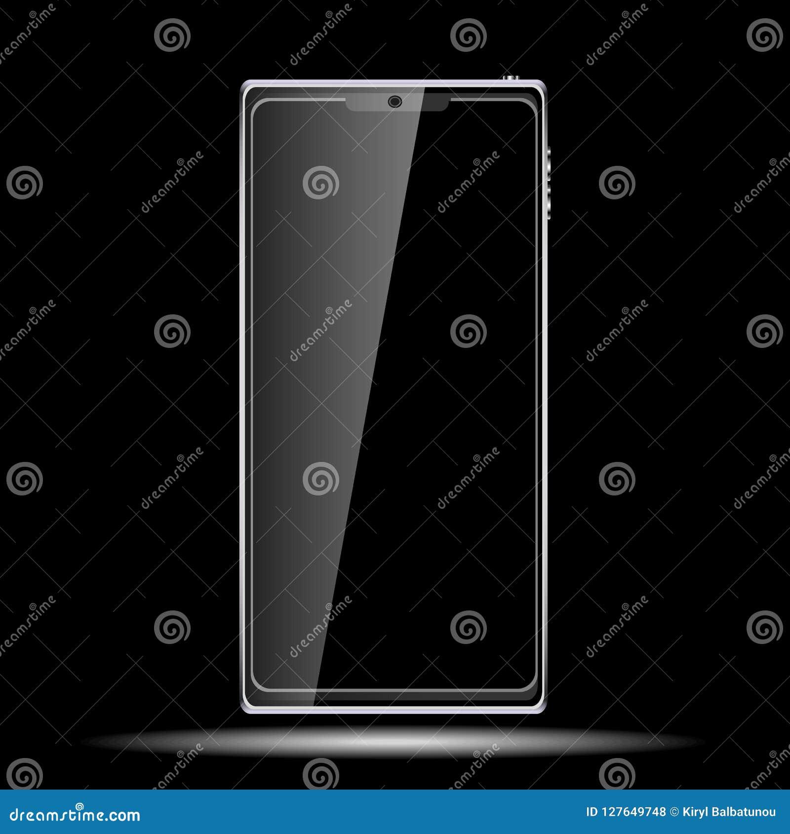 Μαύρο έξυπνο ακριβό κινητό τηλεφωνικό smartphone πολυτέλειας με μια στιλπνή οθόνη γυαλιού αφής, σύγχρονο ρεαλιστικό κινητό διάνυσ
