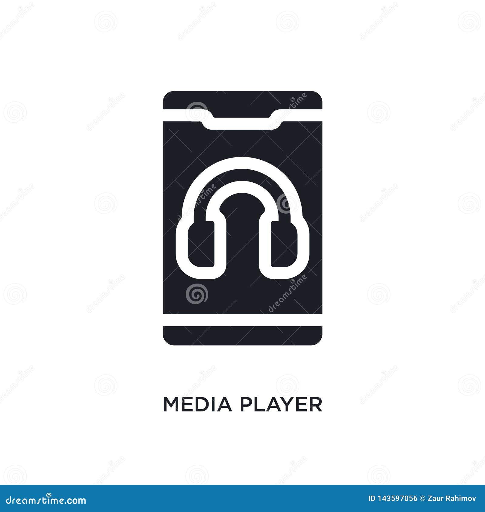 μαύρο απομονωμένο συσκευή αναπαραγωγής πολυμέσων διανυσματικό εικονίδιο απλή απεικόνιση στοιχείων από τα κινητά app διανυσματικά