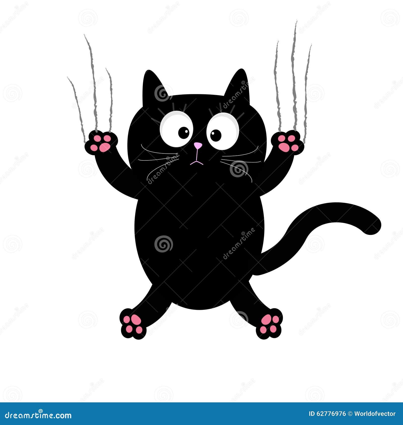 Μαύρο γυαλί γρατσουνιών νυχιών γατών κινούμενων σχεδίων Άσπρη ανασκόπηση απομονωμένος Επίπεδο σχέδιο