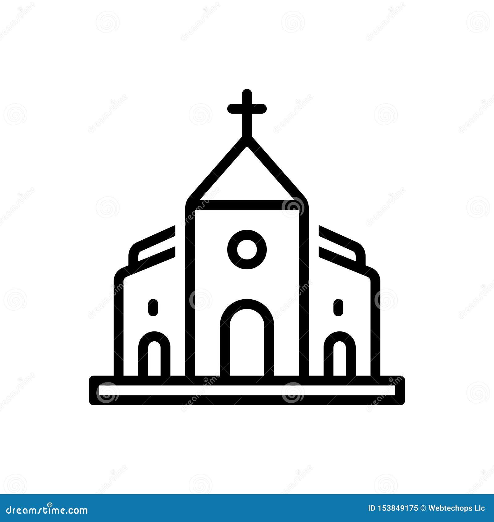 Μαύρο εικονίδιο γραμμών για την εκκλησία, την πεποίθηση και τη Βίβλο