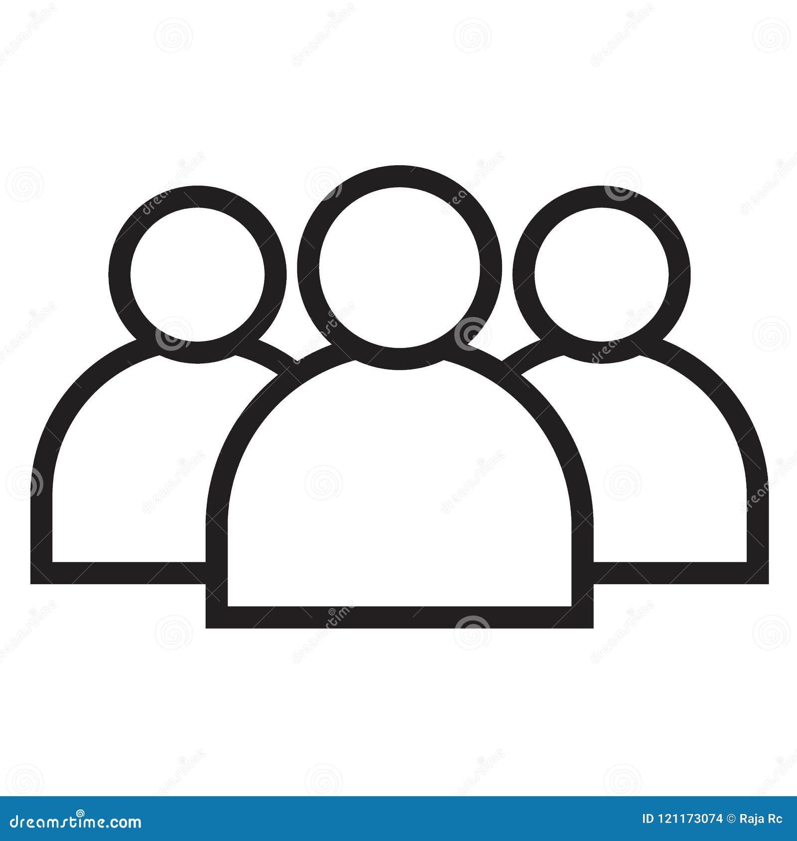 Μαύρο εικονίδιο γραμμών μελών ομάδας