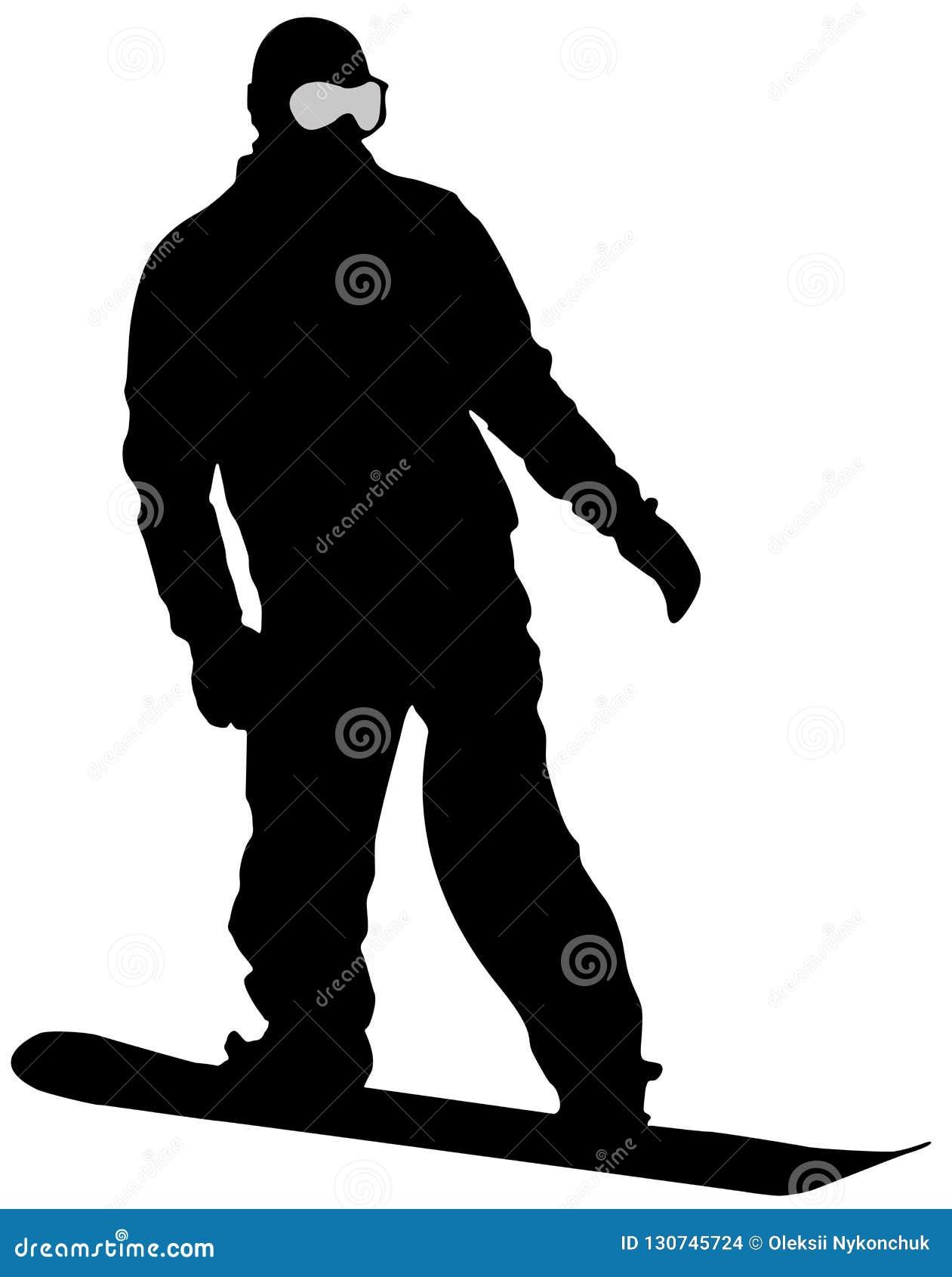 Μαύρο επίπεδο εικονίδιο Snowboarder στο άσπρο υπόβαθρο