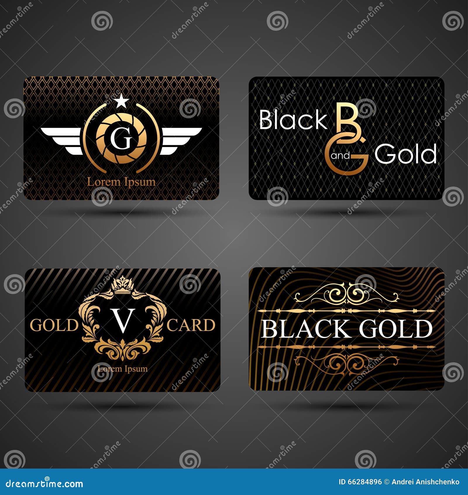 Μαύρο και χρυσό πρότυπο καρτών
